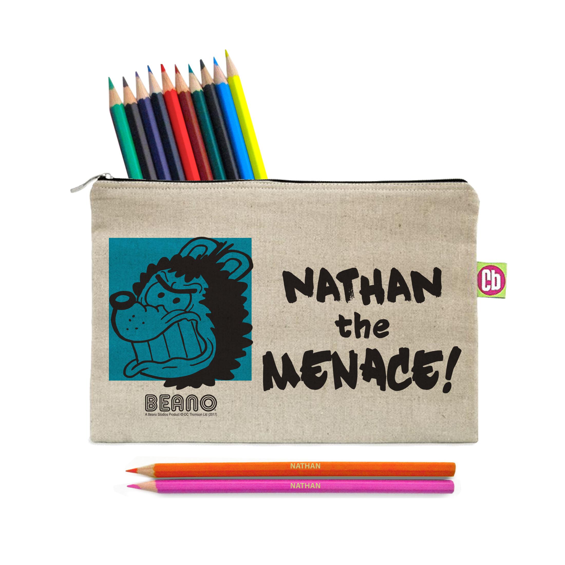 Beano Big Heads Gnasher Pencil Case & Pencils
