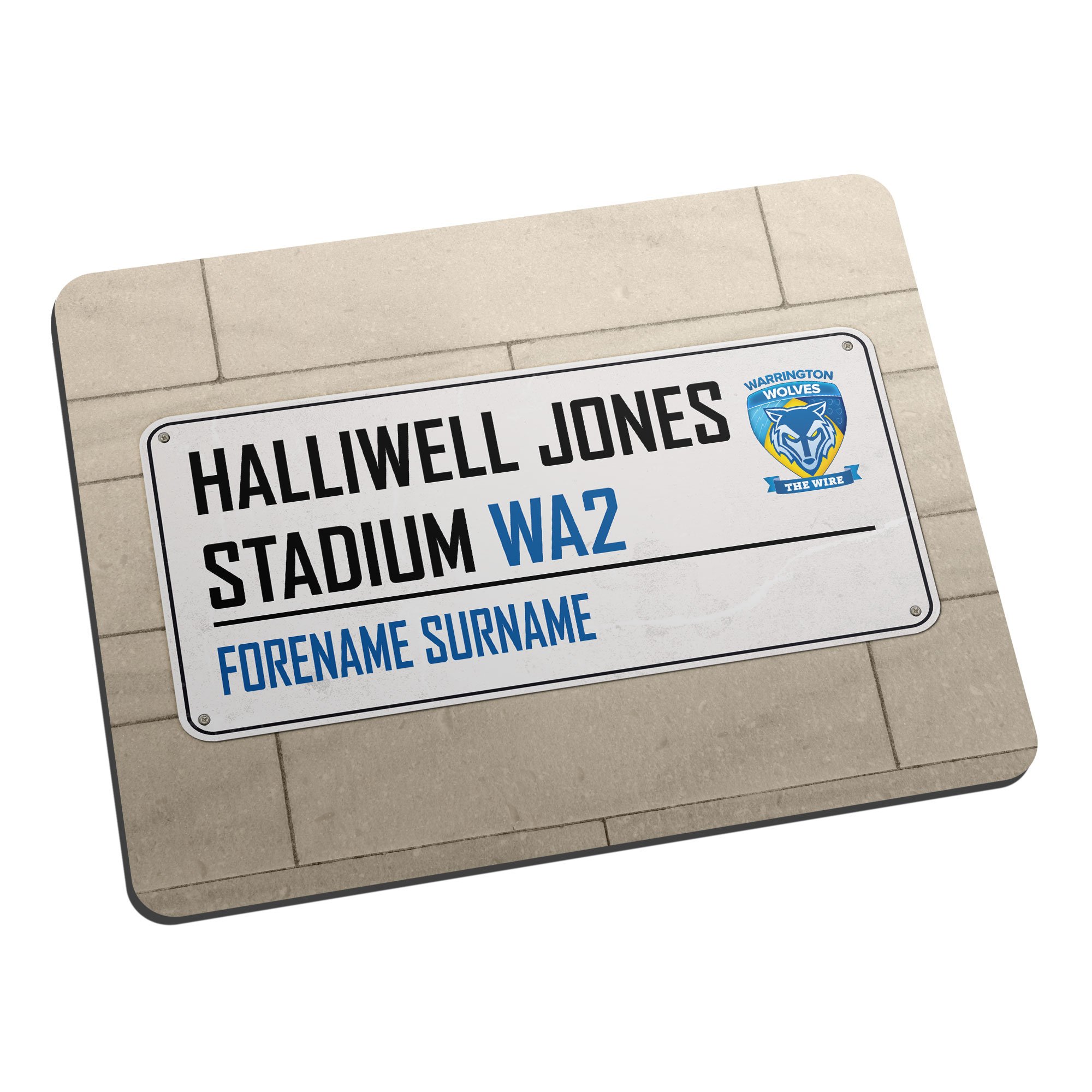 Warrington Wolves Street Sign Mouse Mat