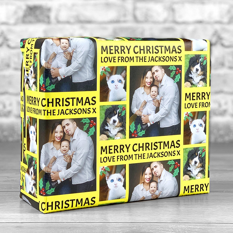 Merry Christmas Yellow Gift Wrap with Personalised Message and 3 Photo Uploads