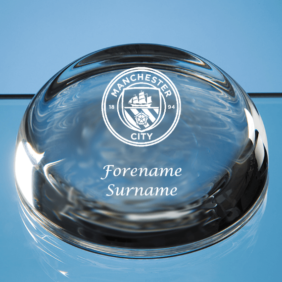 Manchester City FC Personalised Crest Optical Dome Paperweight