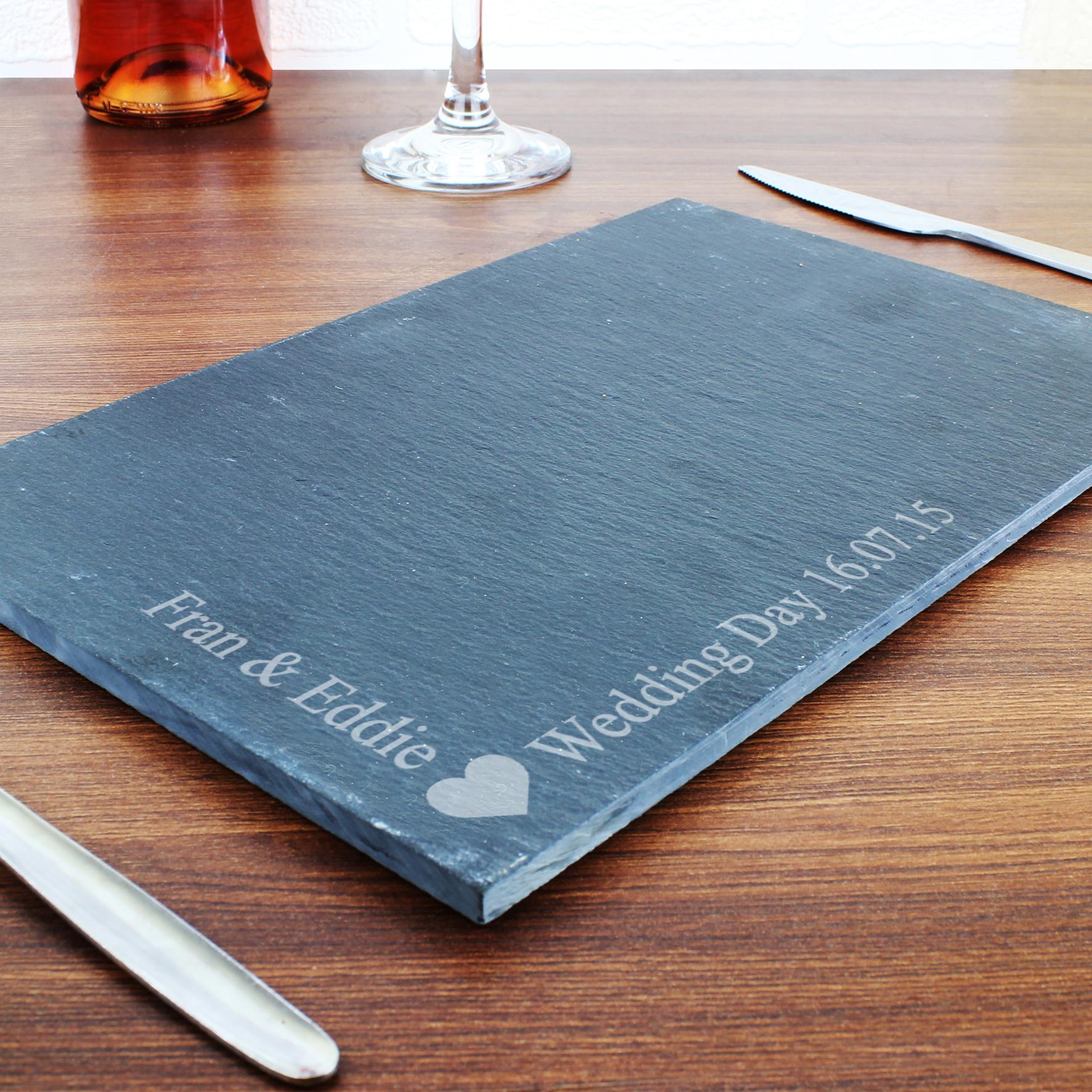 Engraved Heart Motif Slate Board