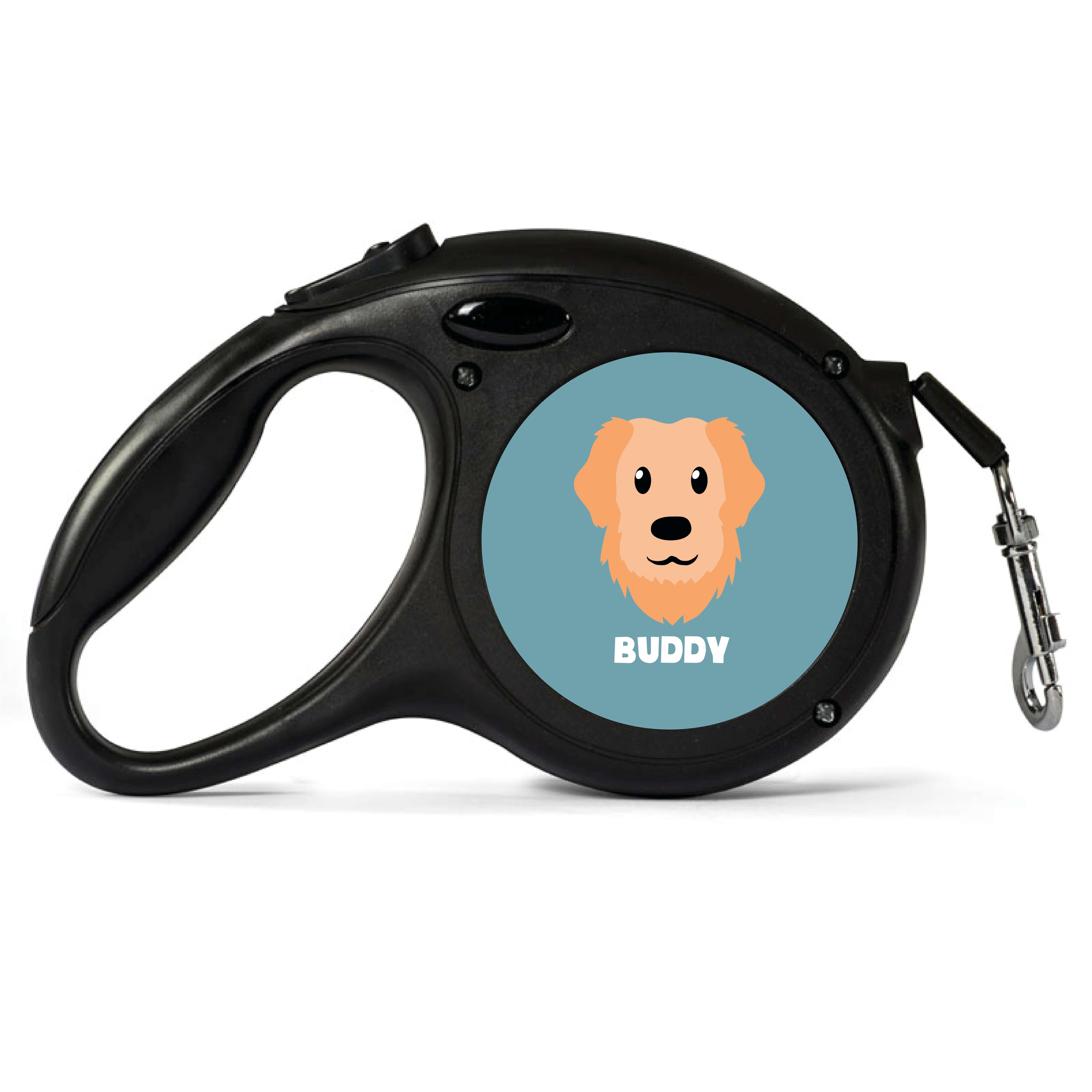 Personalised Golden Retriever Retractable Dog Lead - Small