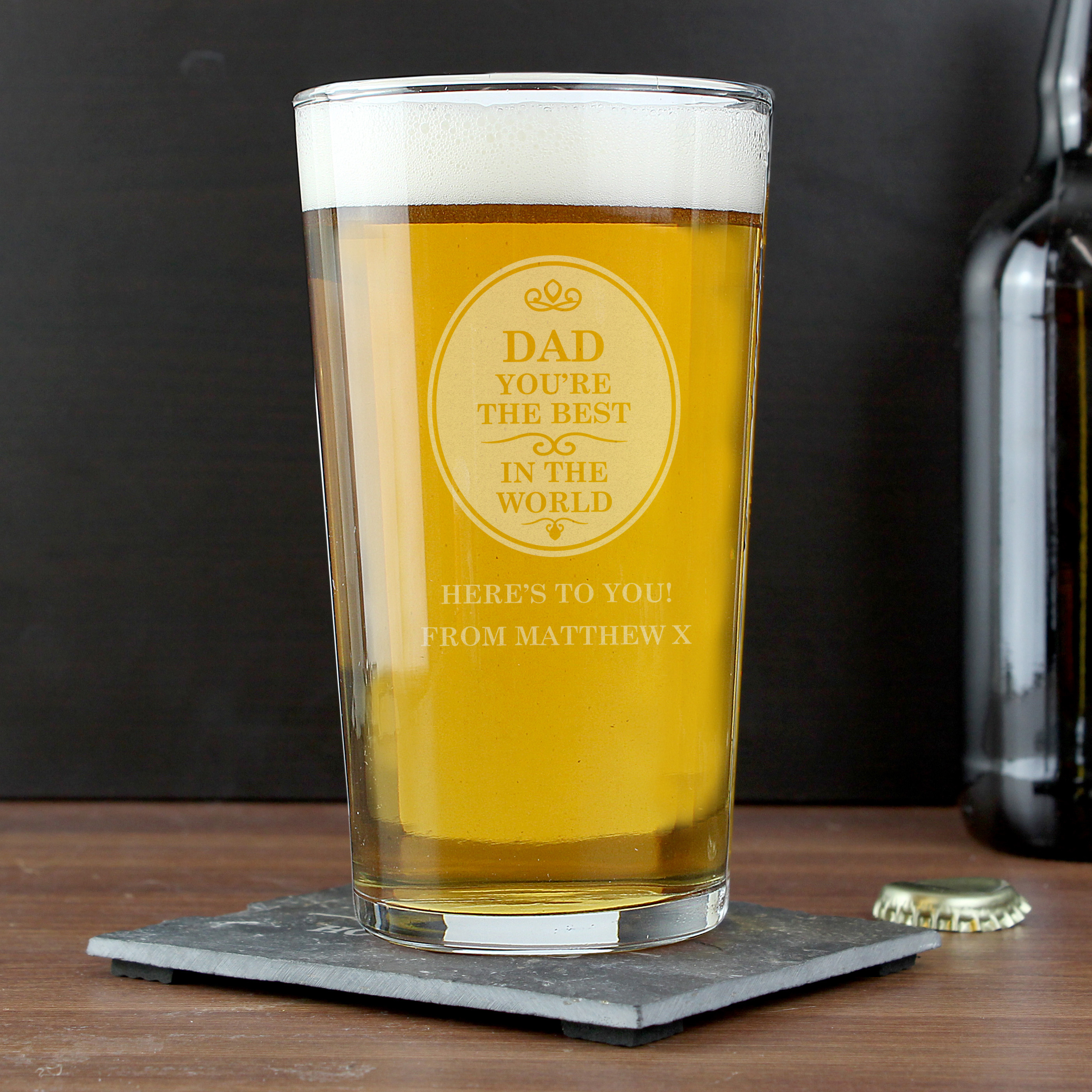 Engraved The Best in the World Pint Glass