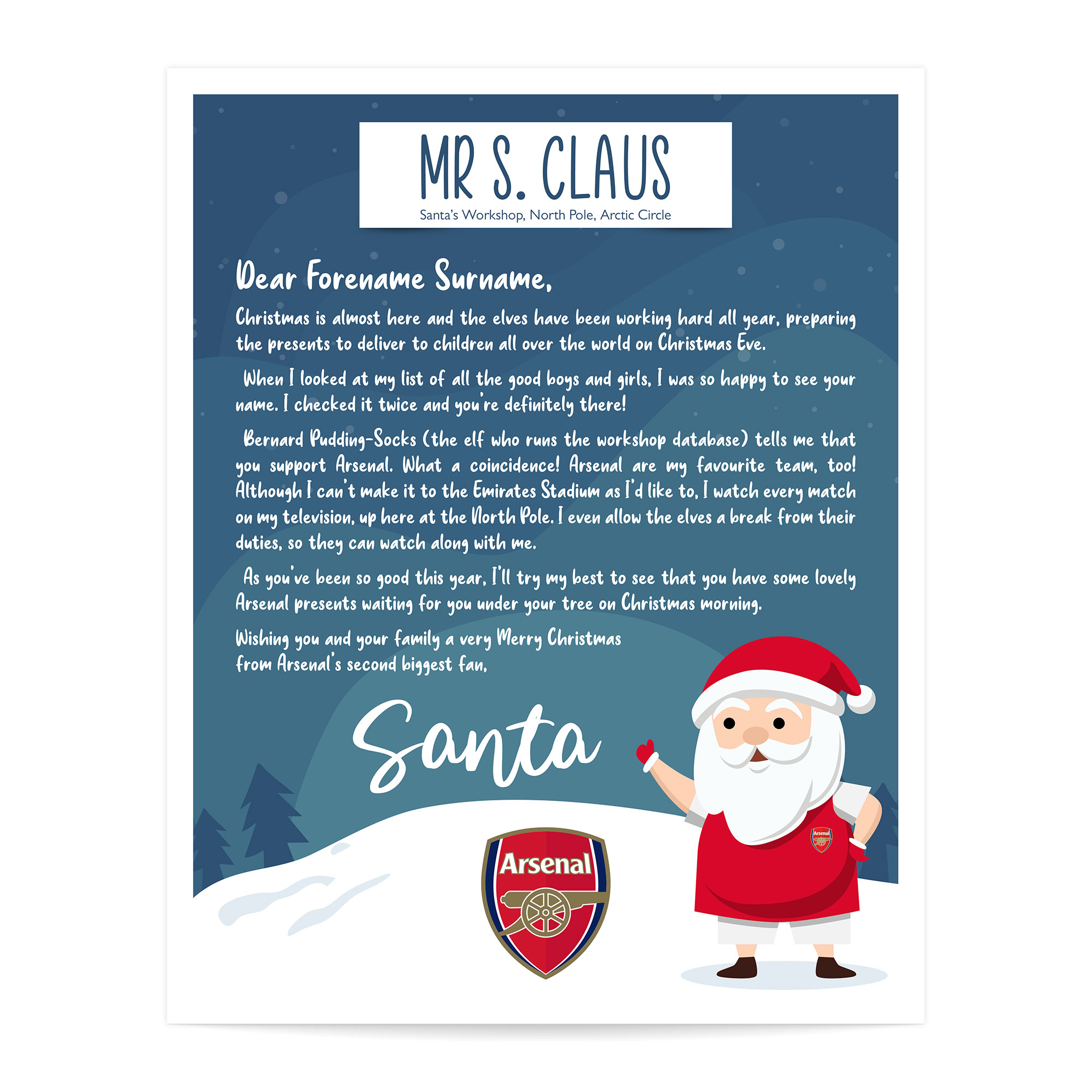 Arsenal FC Personalised Letter from Santa
