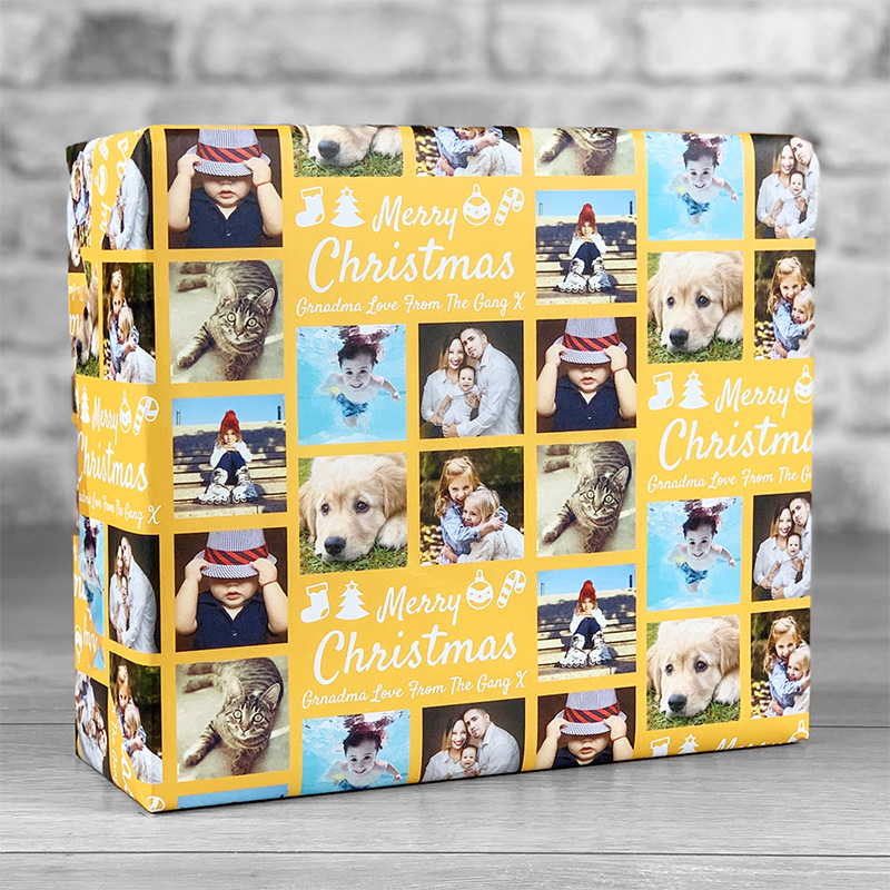 Merry Christmas Orange Gift Wrap with Personalised Message and 7 Photo Uploads