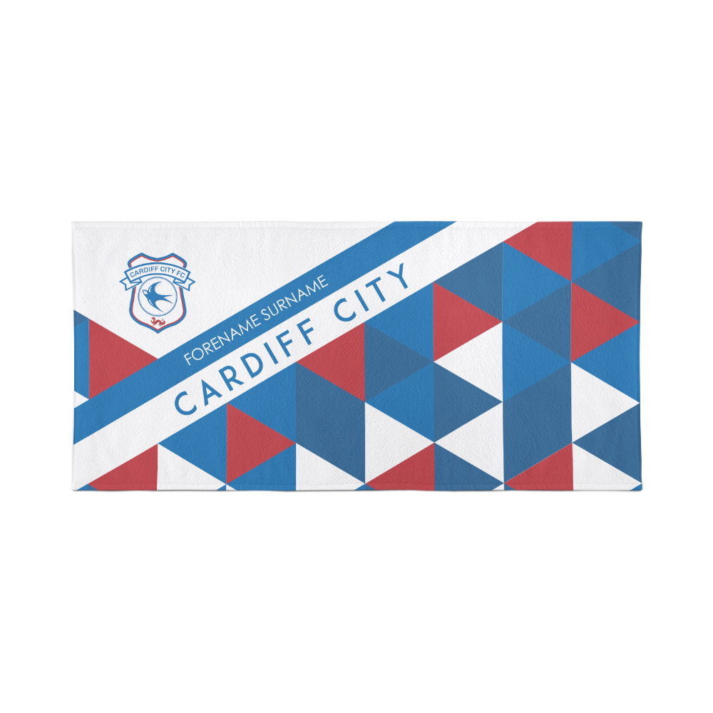 Cardiff City Personalised Towel - Geometric Design - 80 x 160