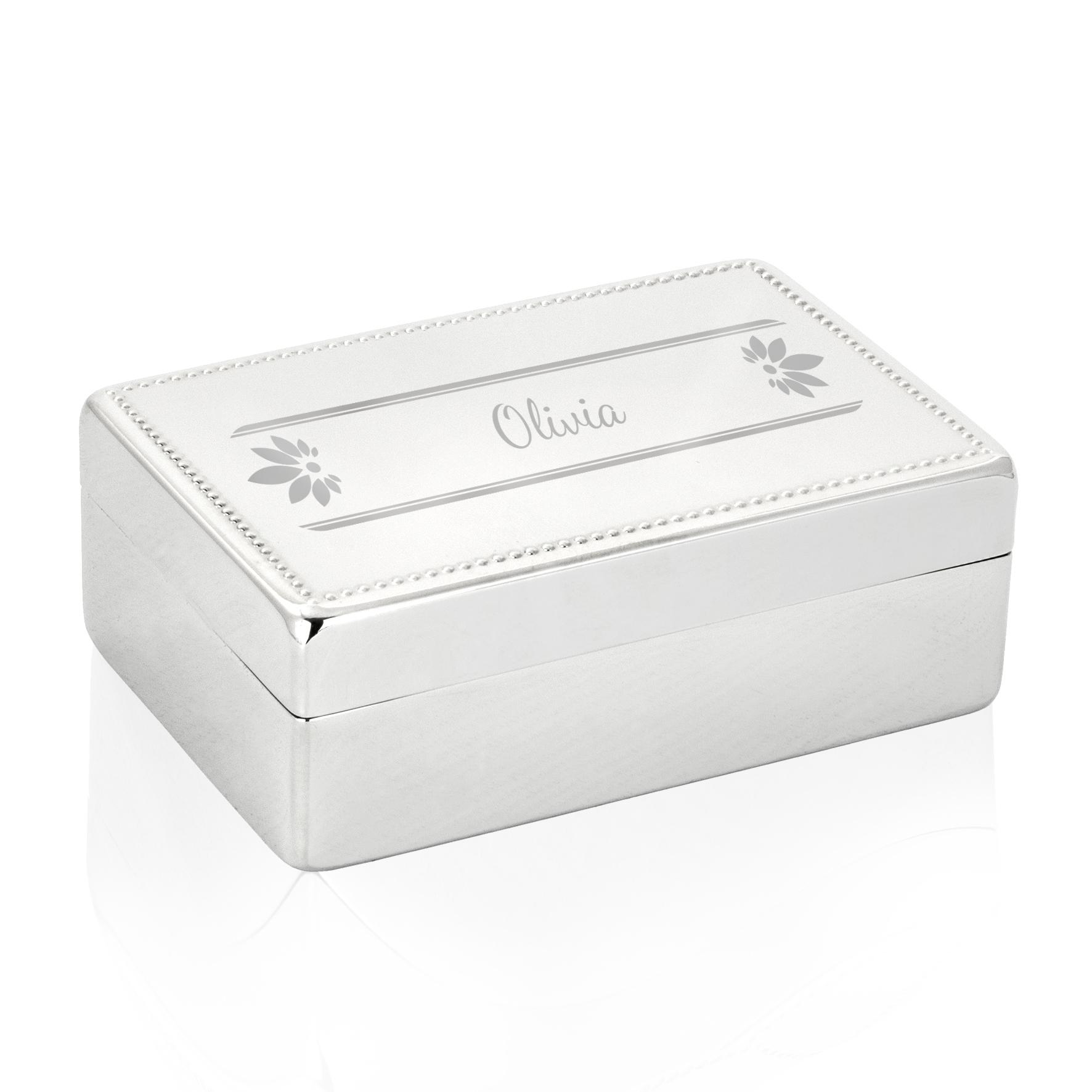 Engraved Petals Rectangle Jewellery Box