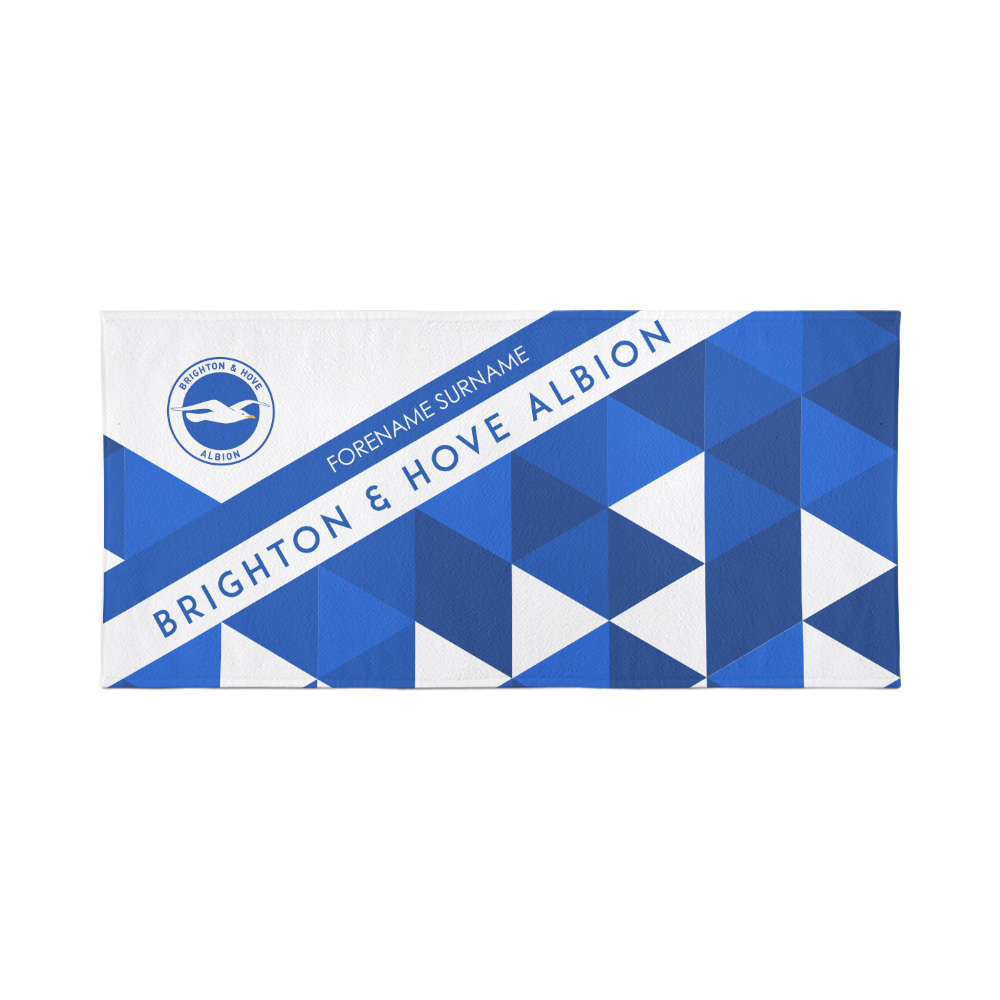 Brighton & Hove Albion Personalised Towel - Geometric Design - 70 x 140