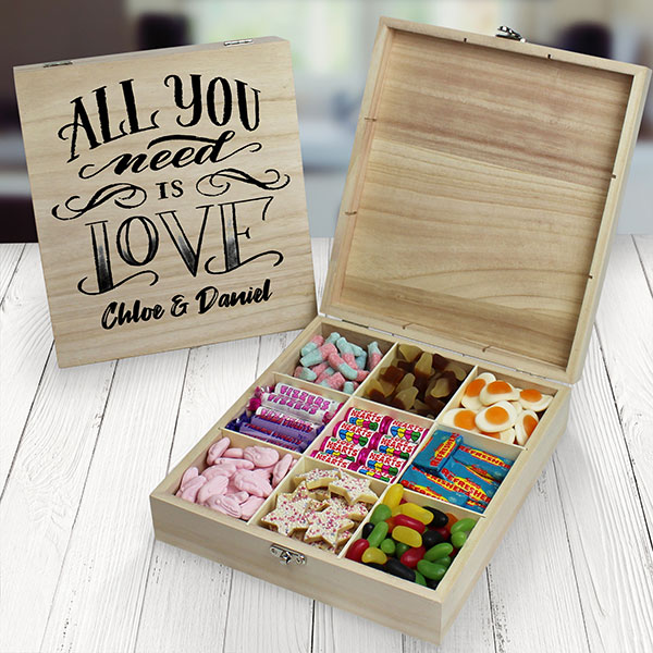 All You Need Is Love Wooden Sweet Box - 9 Compartment
