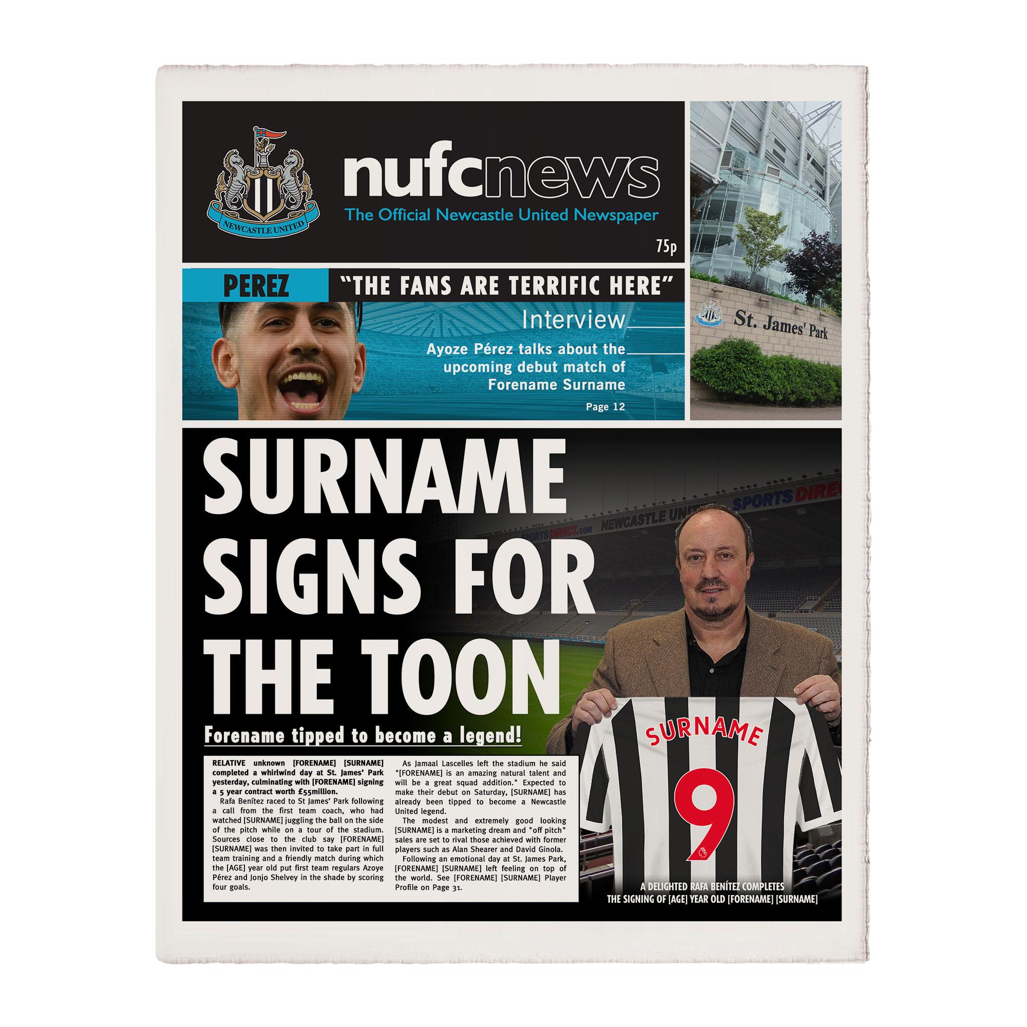 Newcastle United FC News Single Page Print