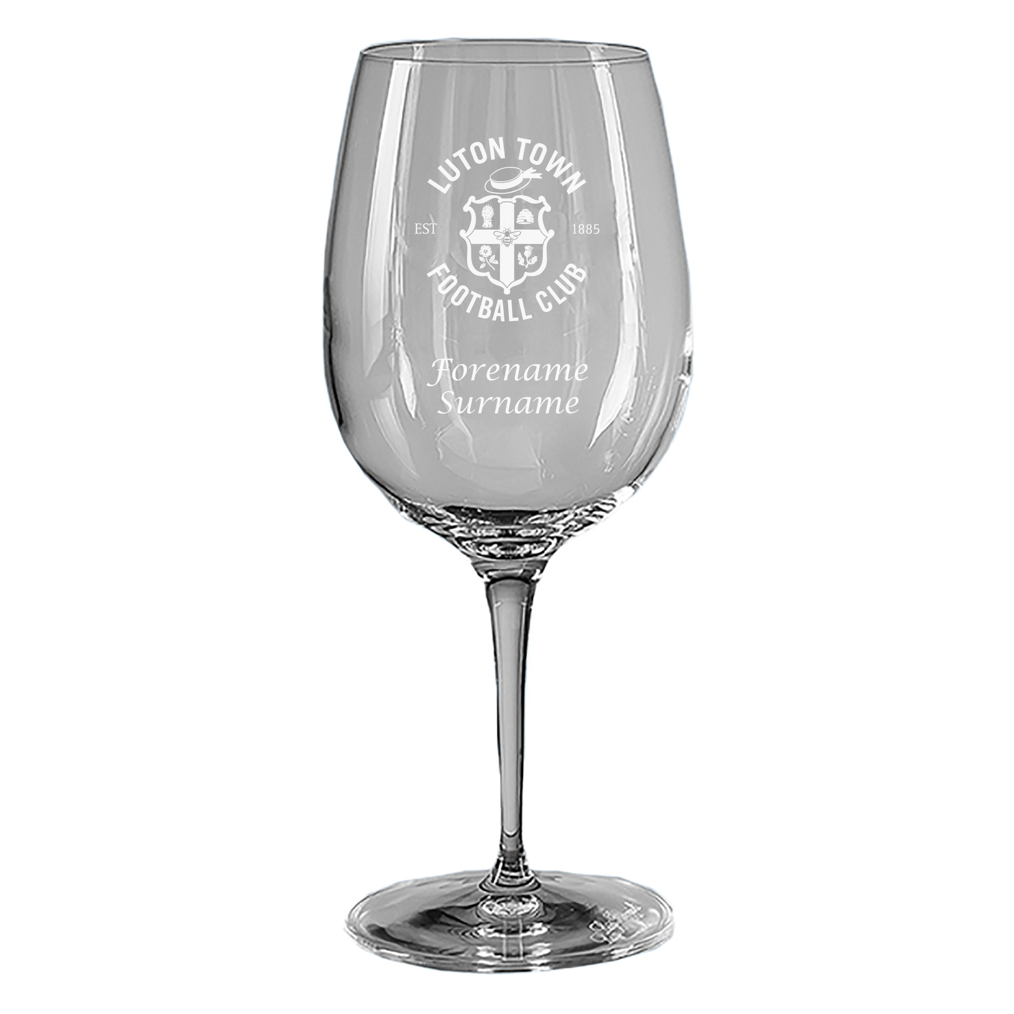 Luton Town FC Personalised Crest Wine Glass