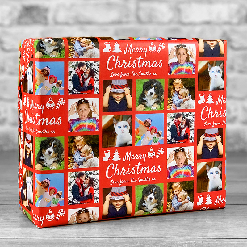 Merry Christmas Red Gift Wrap with Personalised Message and 7 Photo Uploads