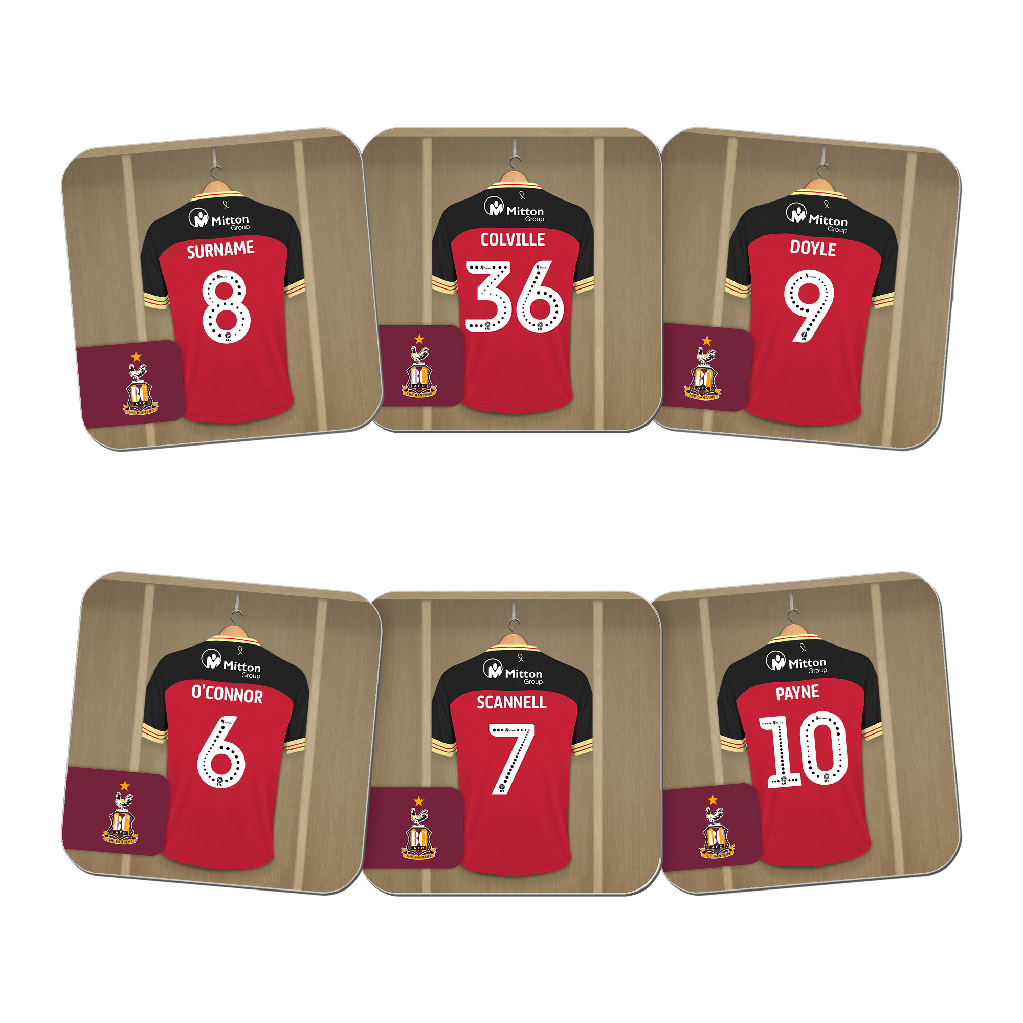 Bradford City AFC Dressing Room Coasters
