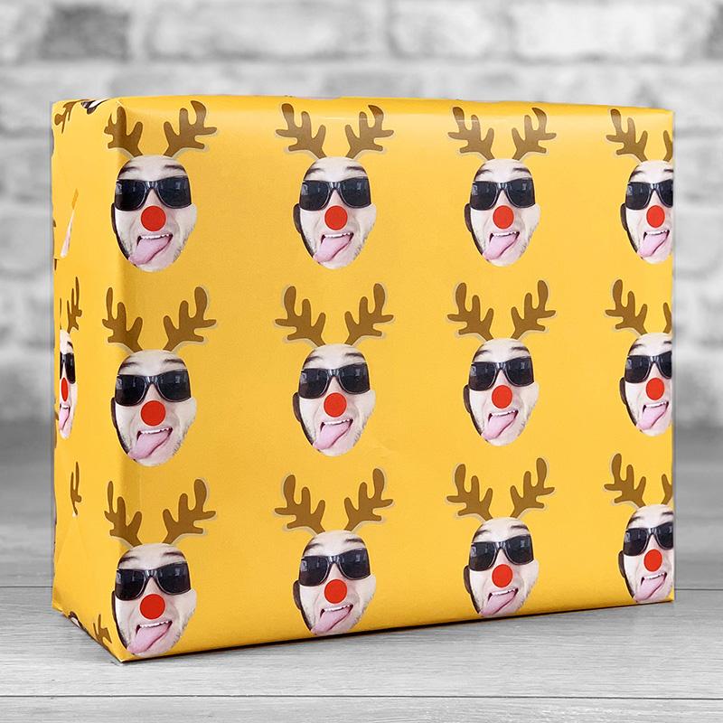 Reindeer Antlers Orange Gift Wrap with Face Upload