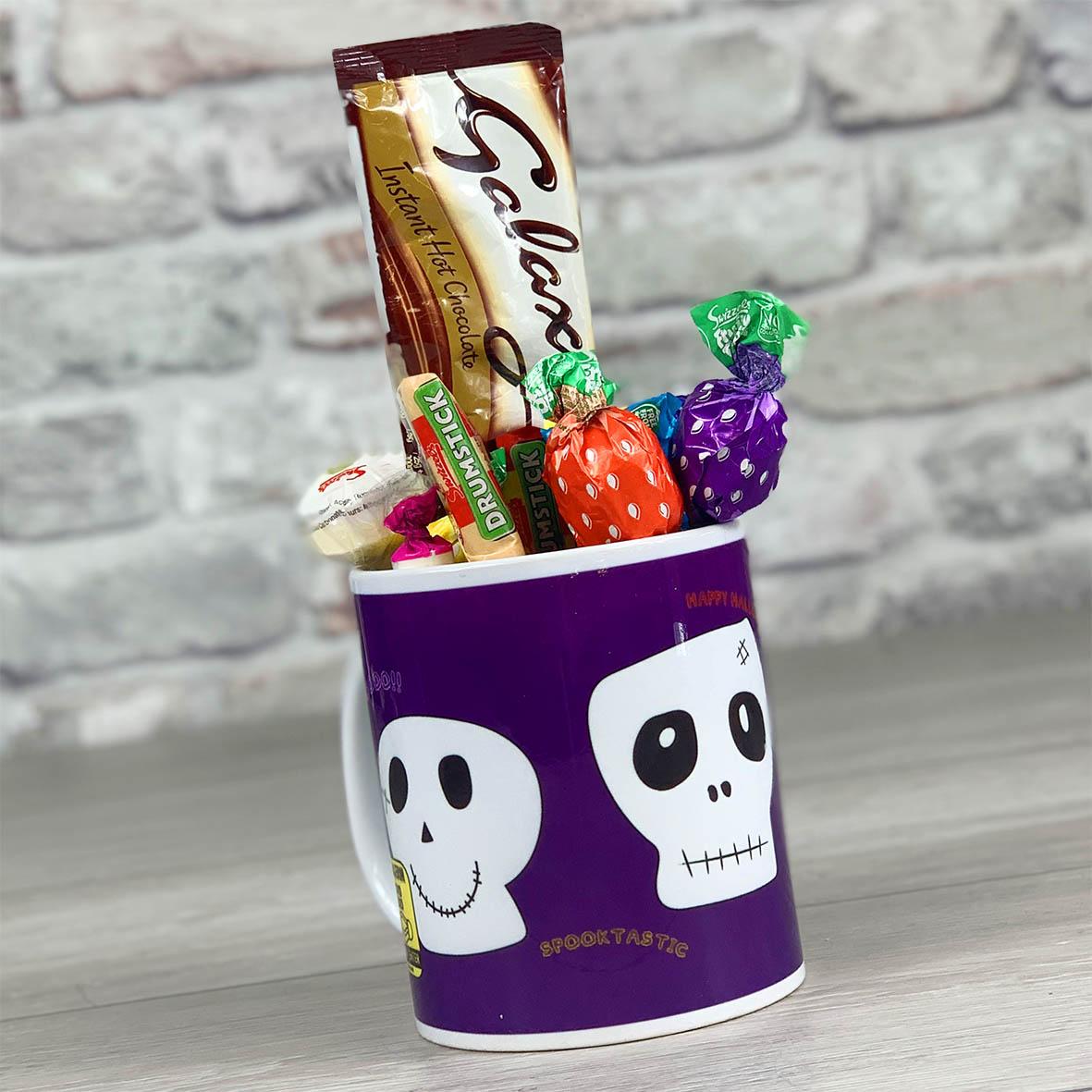 Skulls on Purple Non Personalised - Mug With Sweets