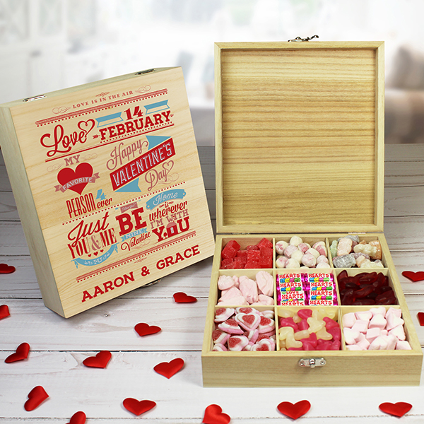 Be My Valentine Wooden Sweet Box - 9 compartment
