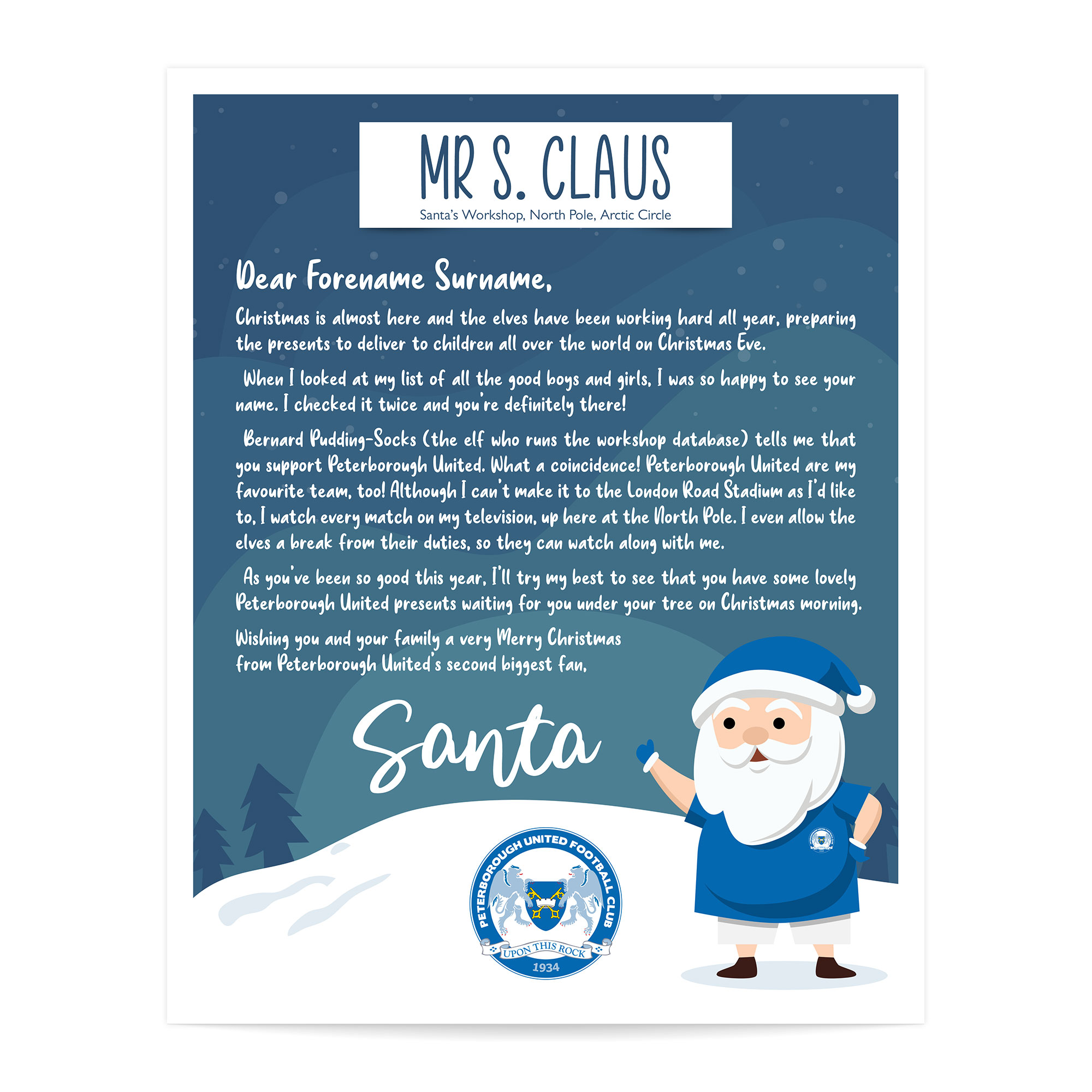 Peterborough United FC Personalised Letter from Santa