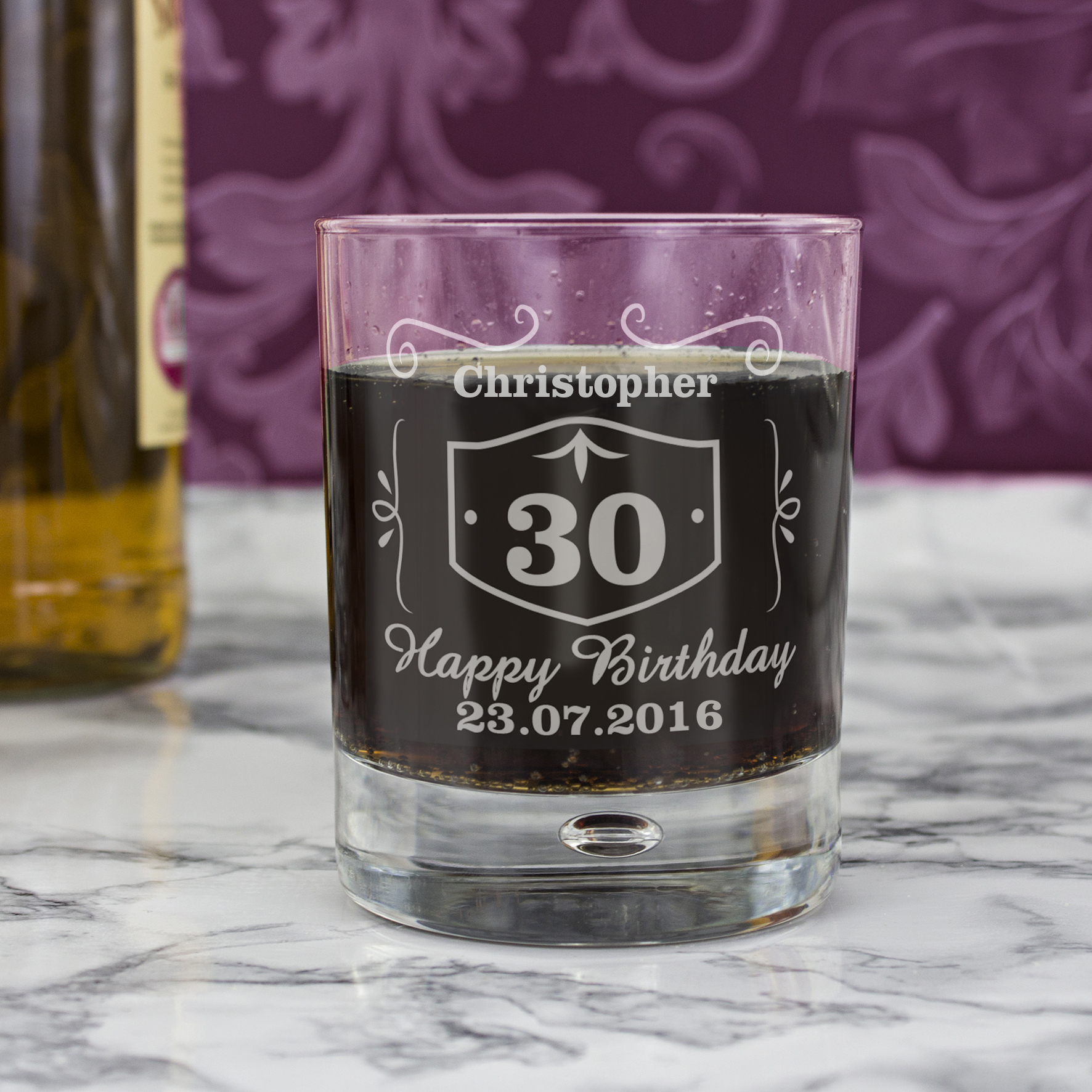 Engraved Bubble Tumbler - Classic Whisky Style