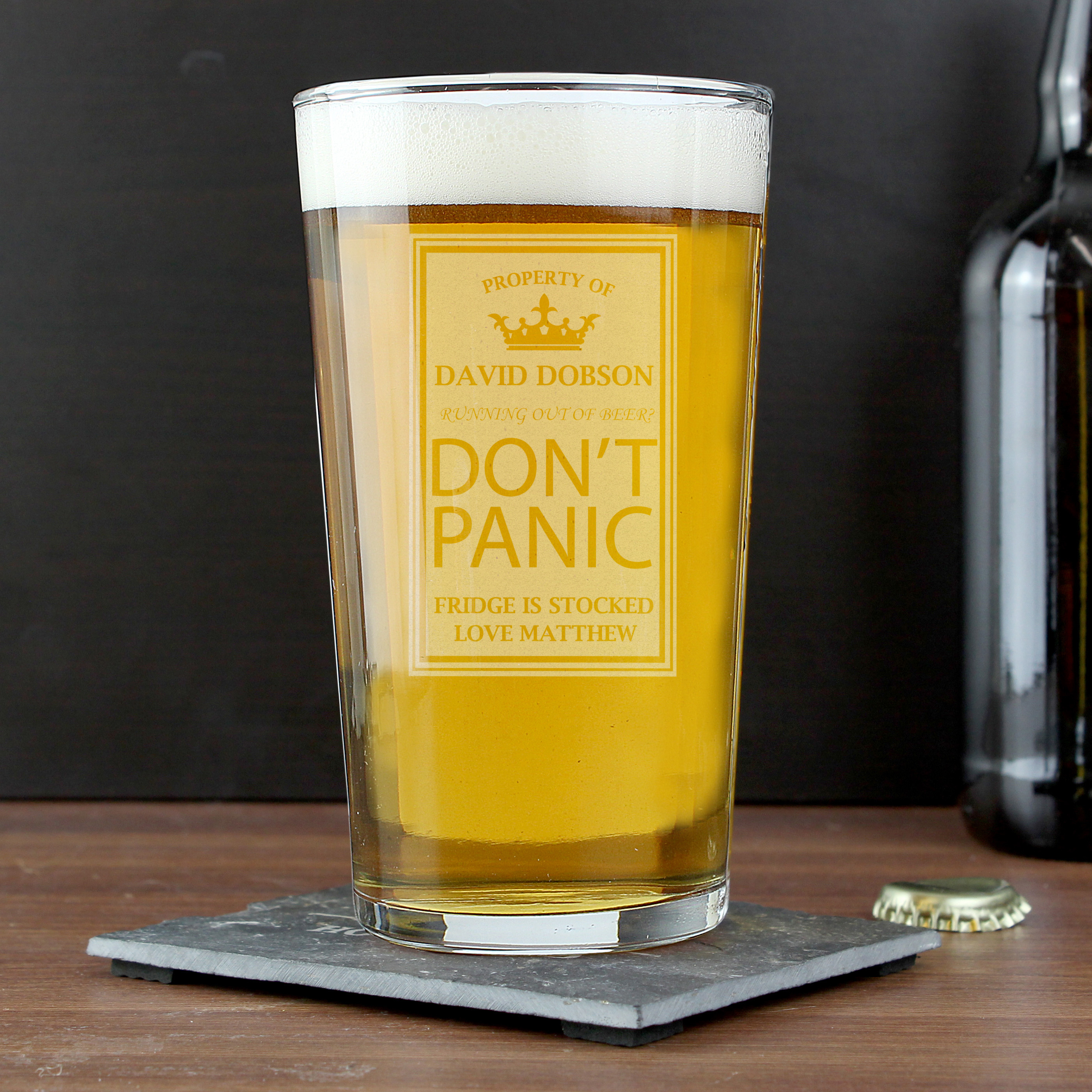 Engraved Don't Panic Pint Glass