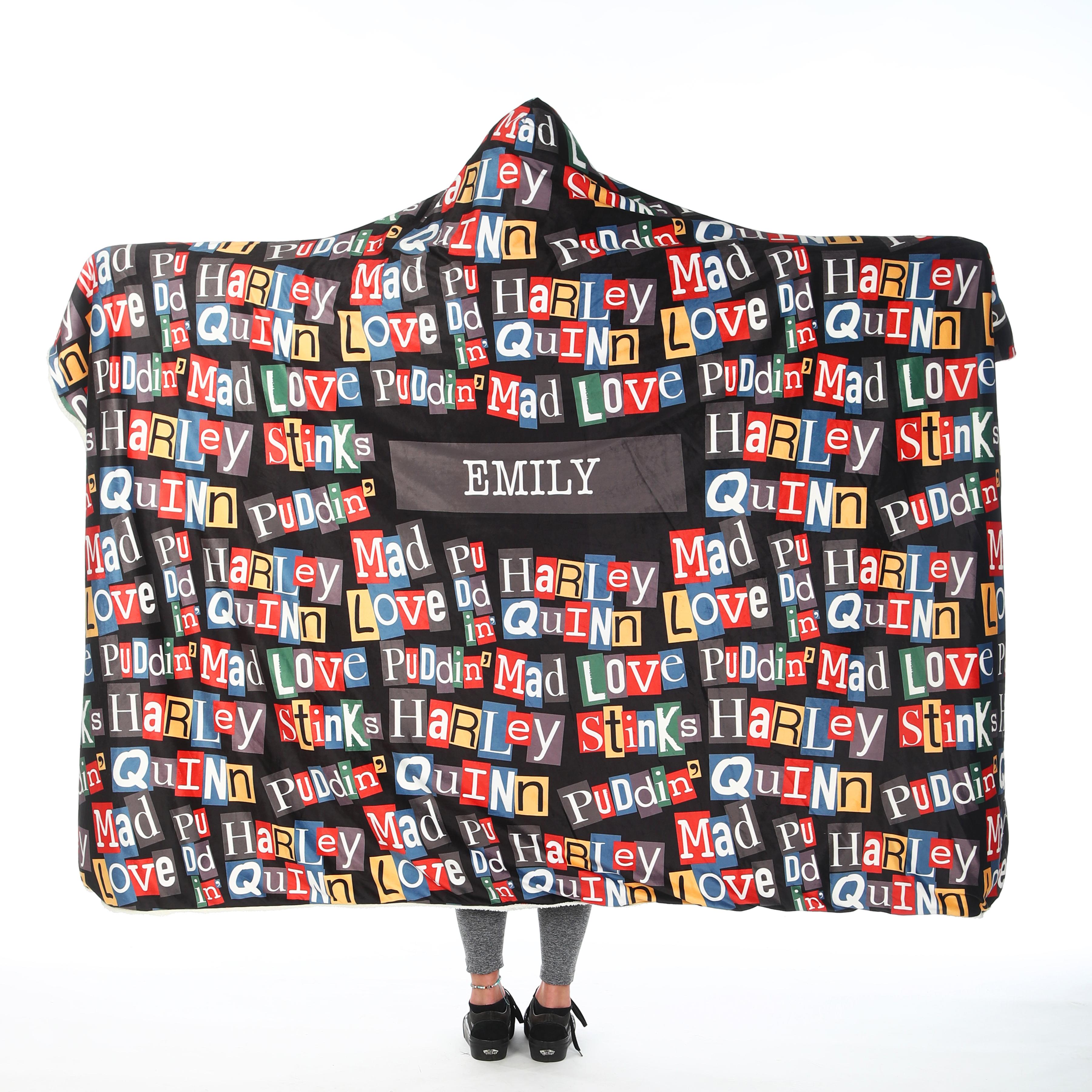 Harley Quinn™ Adult Hooded Blanket - Pattern