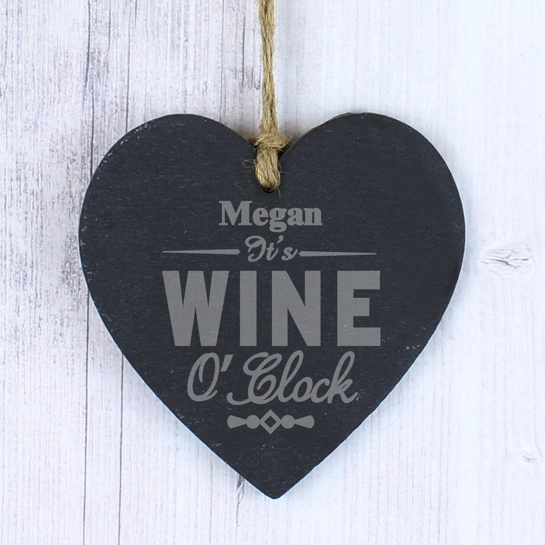 Engraved Wine O Clock Slate Heart Decoration