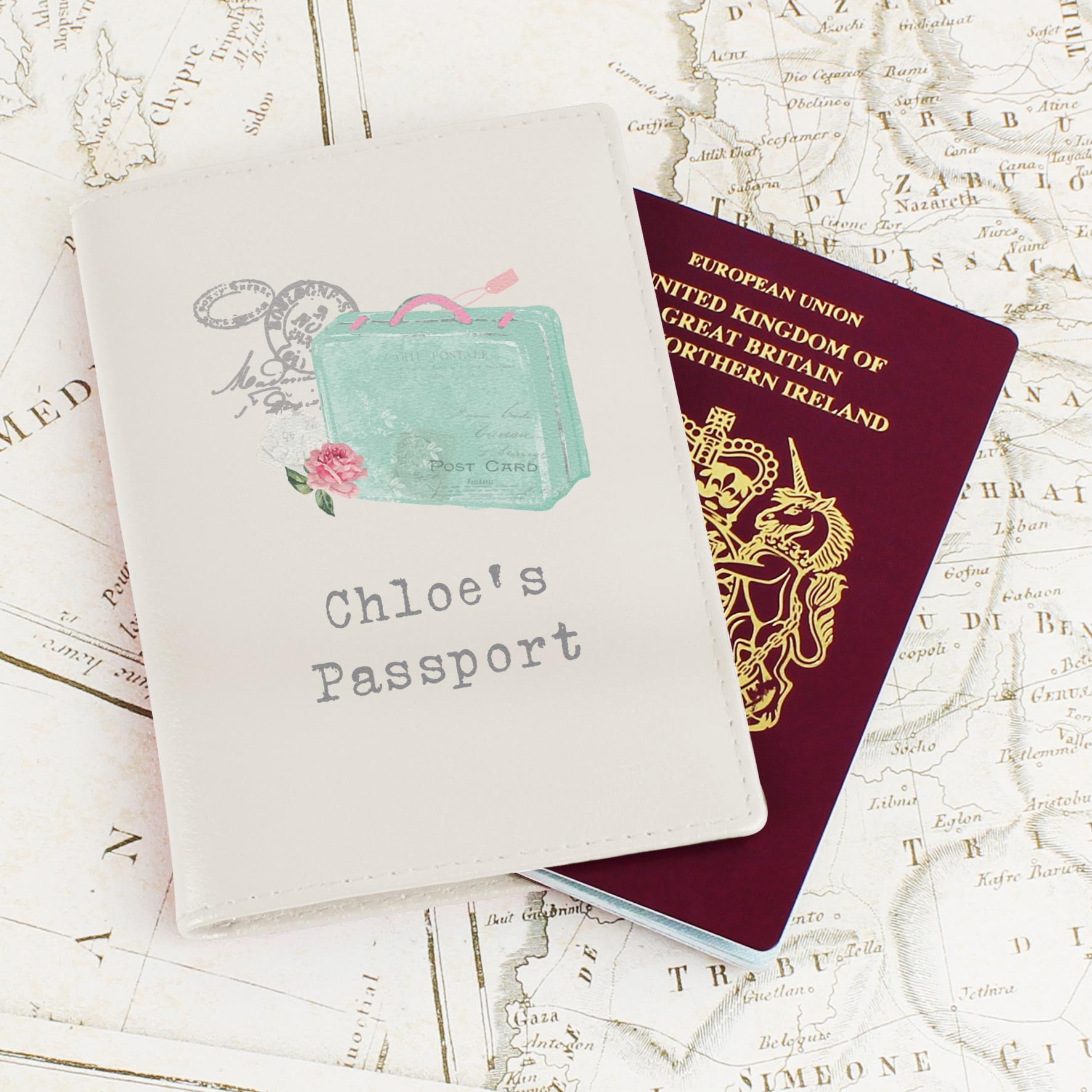 Personalised Vintage Suitcase Cream Passport Holder