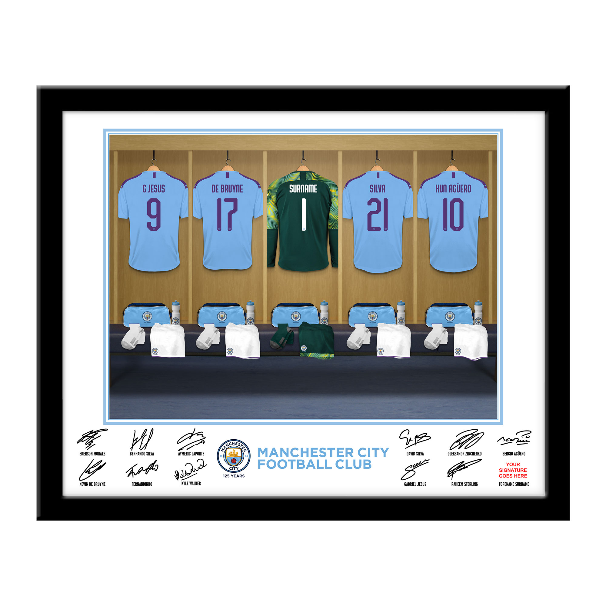 MCFC Goalkeeper Dressing Room Framed Print