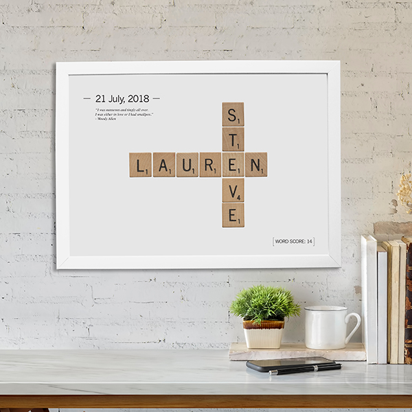Love Tiles Poster Lifestyle shot in white frame