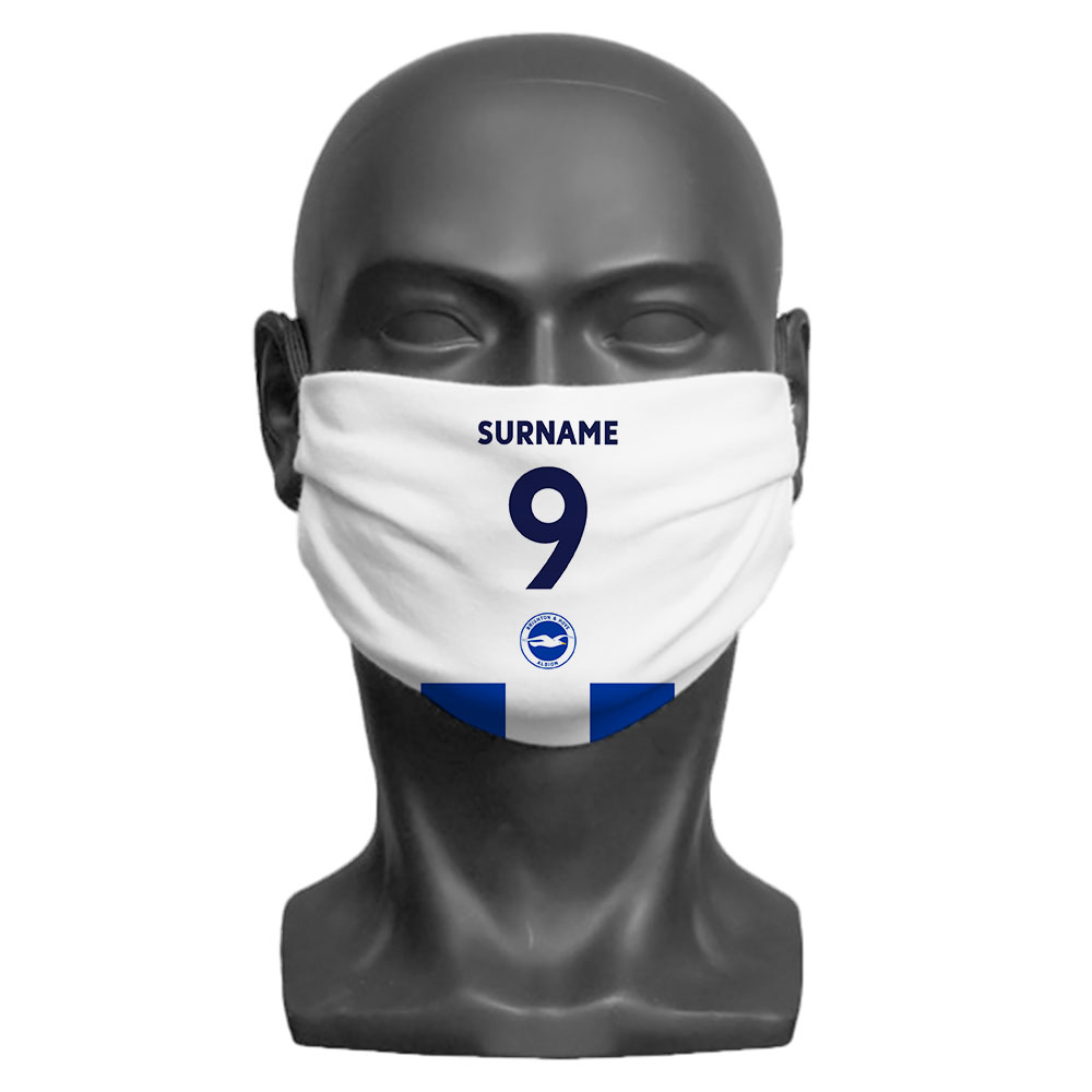 Brighton & Hove Albion FC Back of Shirt Adult Face Mask (Medium)