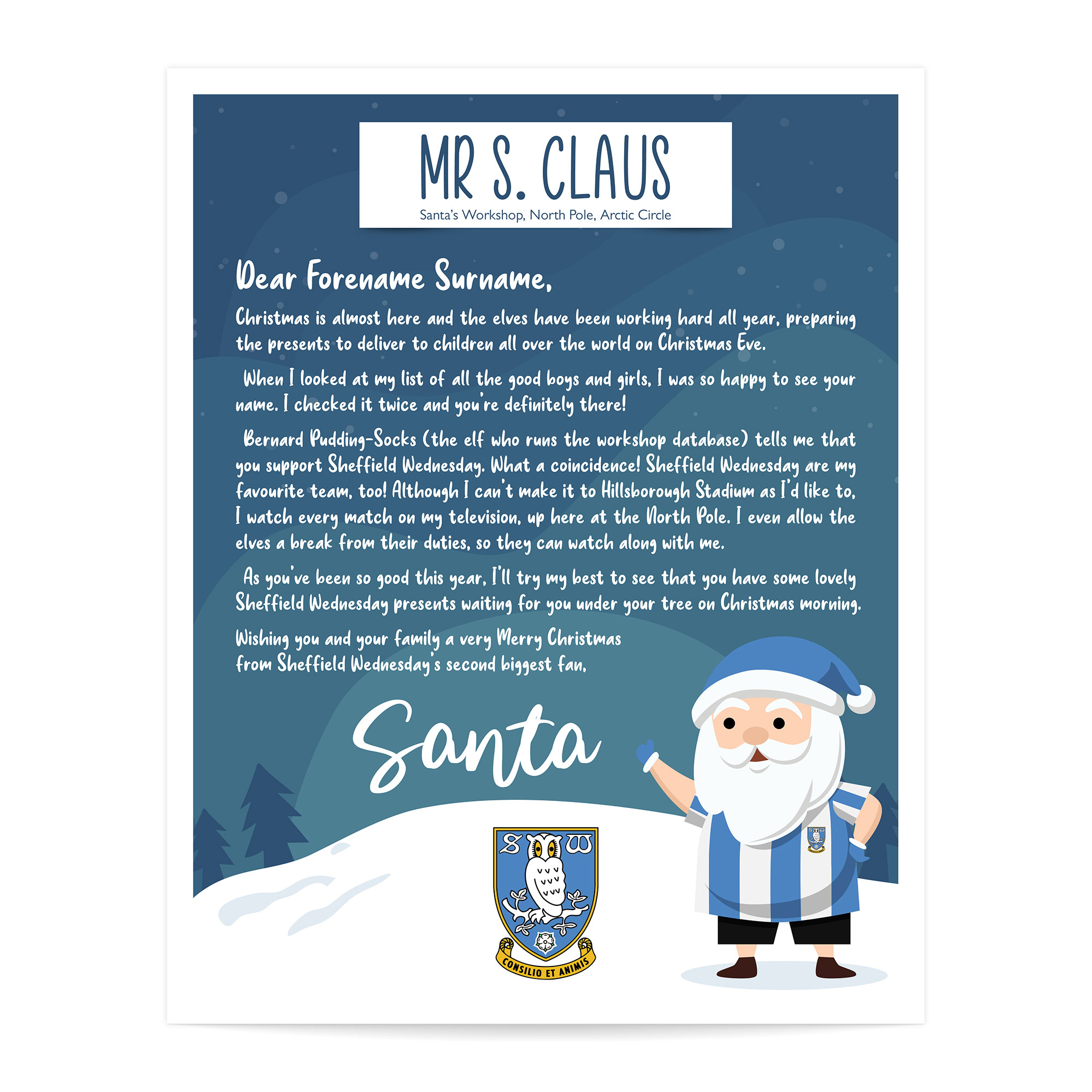 Sheffield Wednesday FC Personalised Letter from Santa