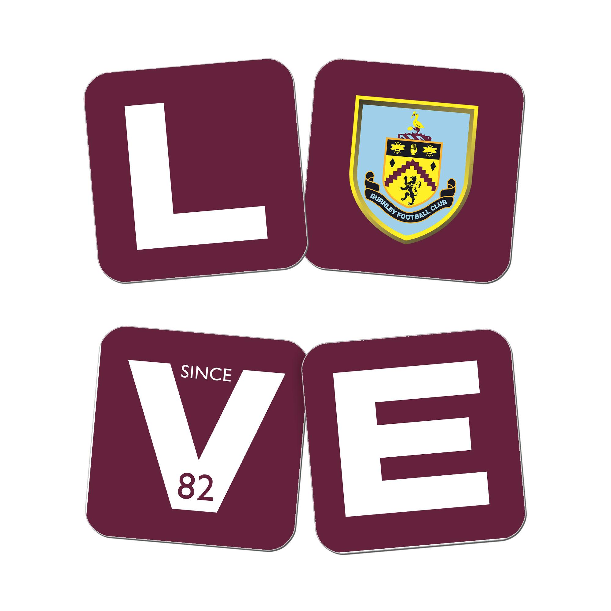Burnley FC Love Coasters (x4)