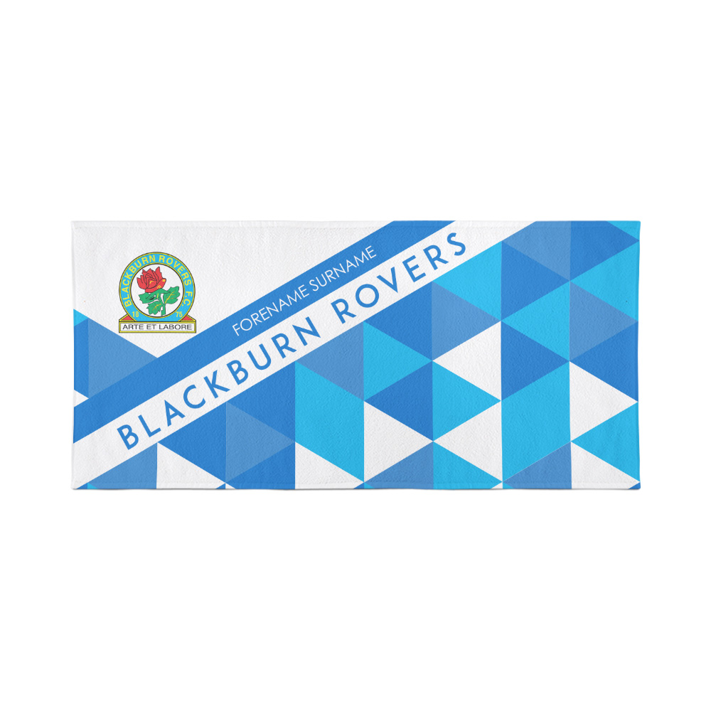 Blackburn Rovers Personalised Towel - Geometric Design - 70 x 140