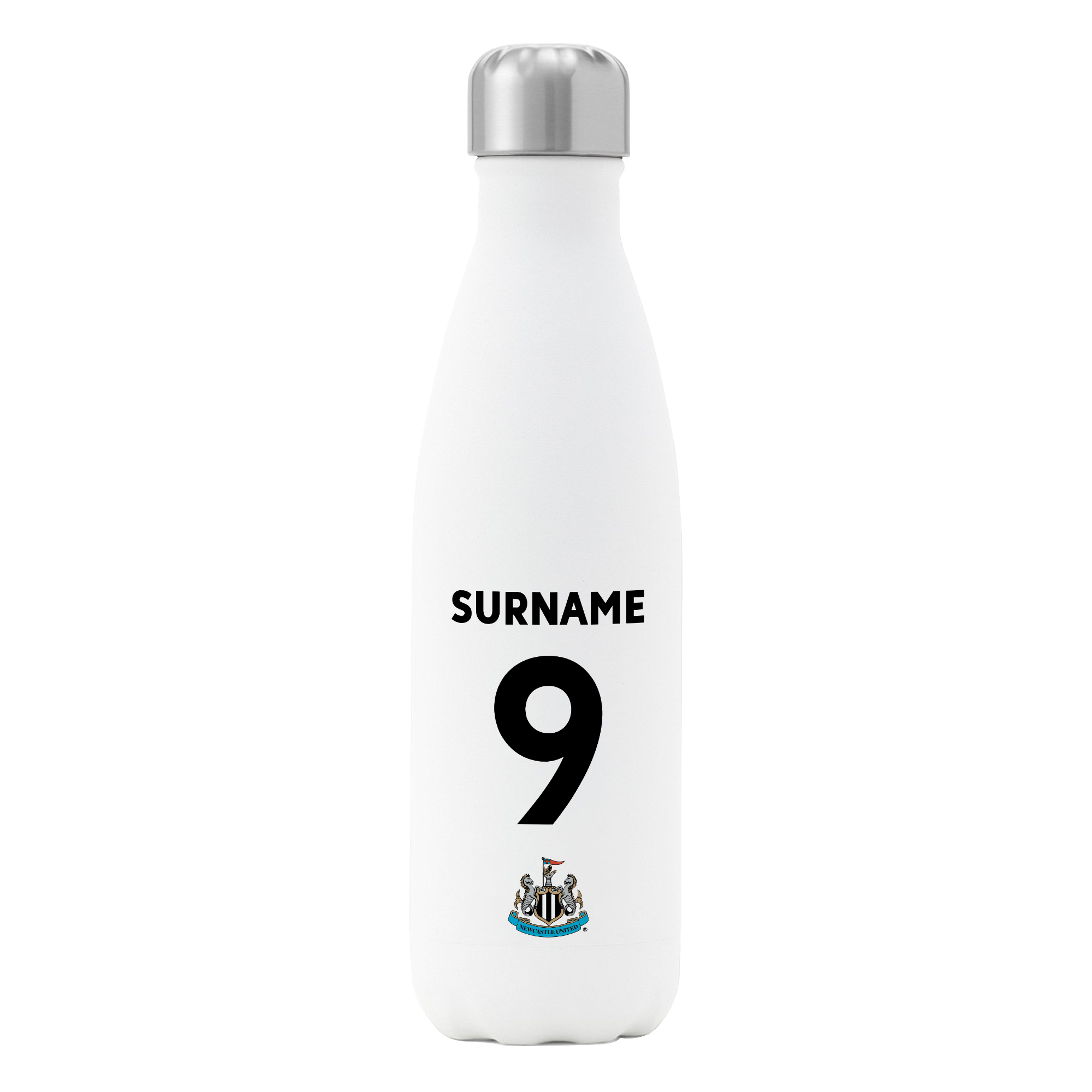 Newcastle United FC Back of Shirt Insulated Water Bottle - White