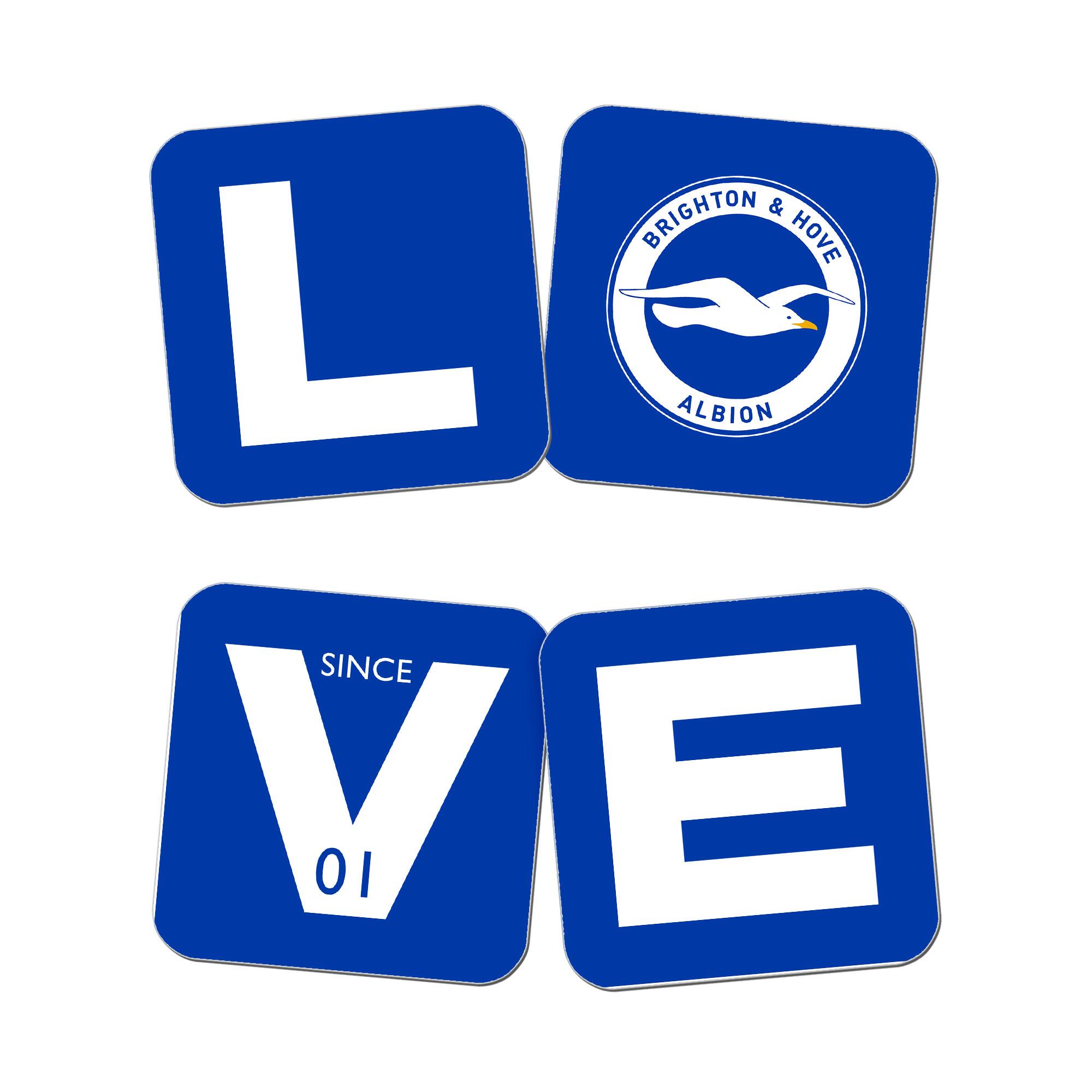 Brighton & Hove Albion FC Love Coasters (x4)