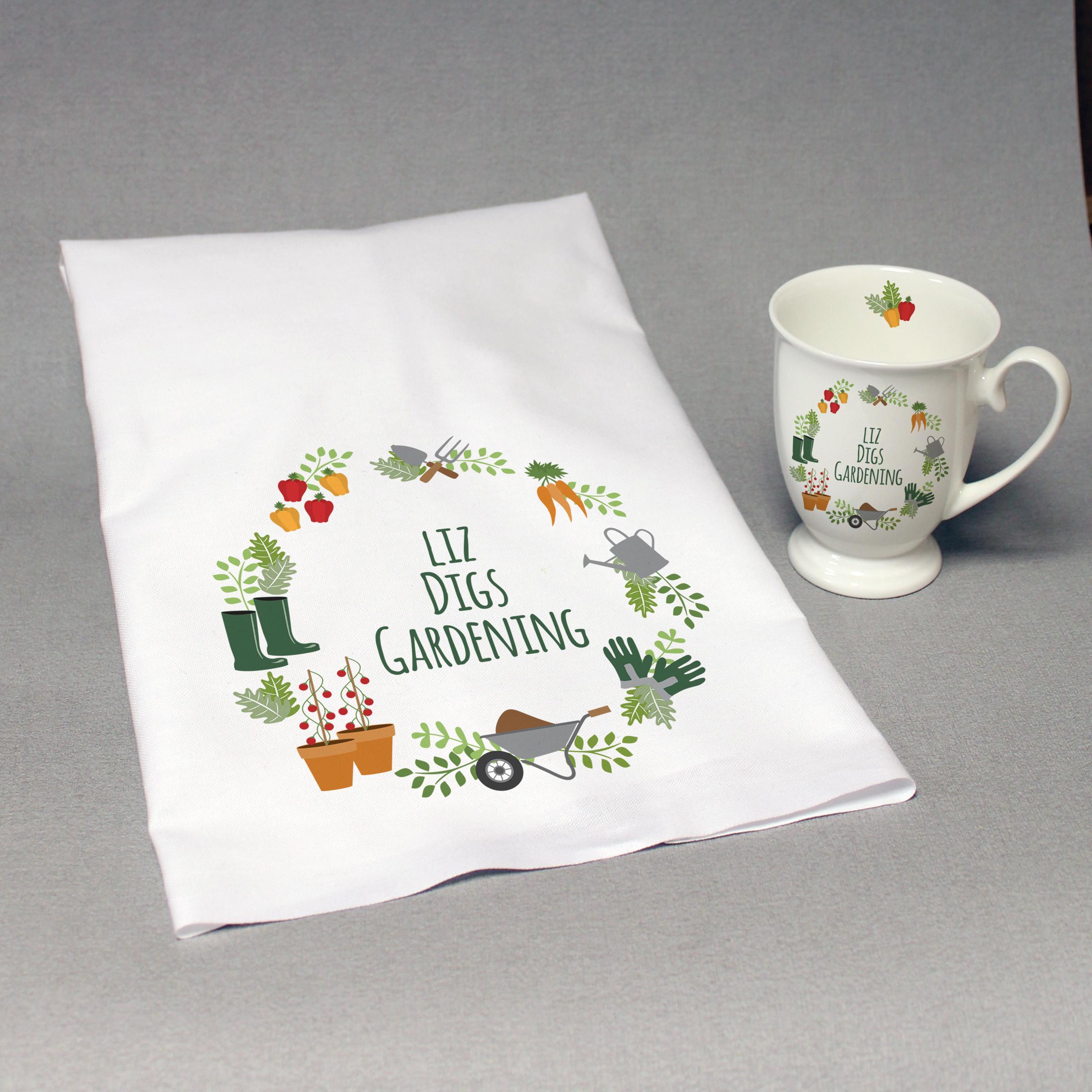 Personalised Digs Gardening Marquee Mug And Tea Towel Set
