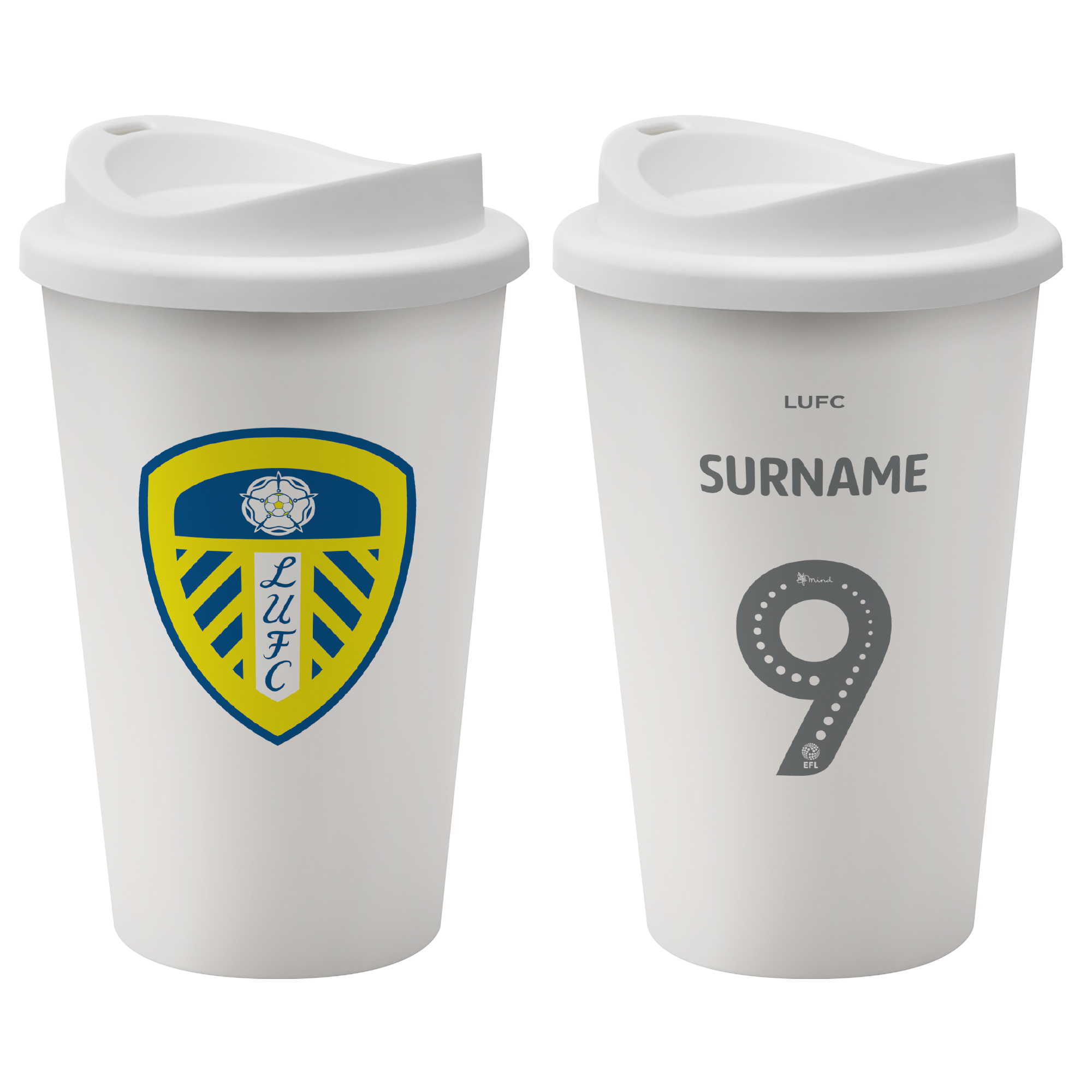 Leeds United FC Back of Shirt Reusable Cup