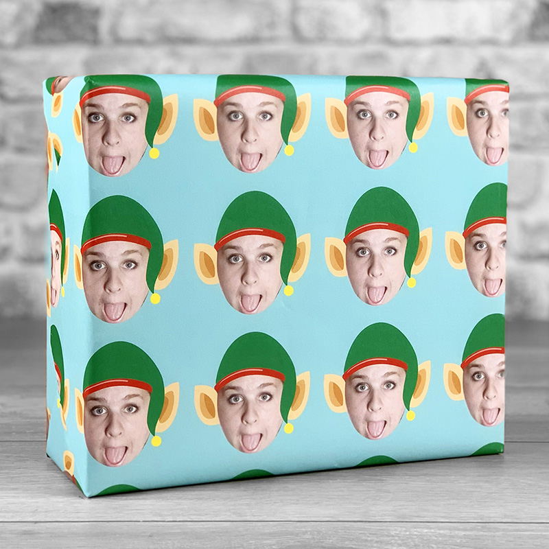 Elf Hat Teal Gift Wrap with Face Upload