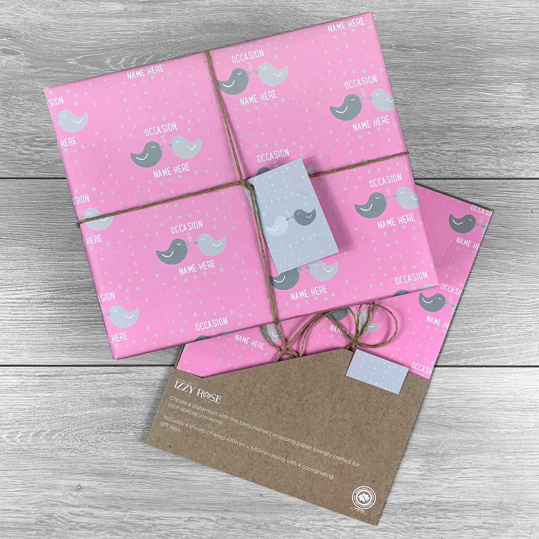 Love Birds Any Occasion Giftwrap - Multiple colour choices