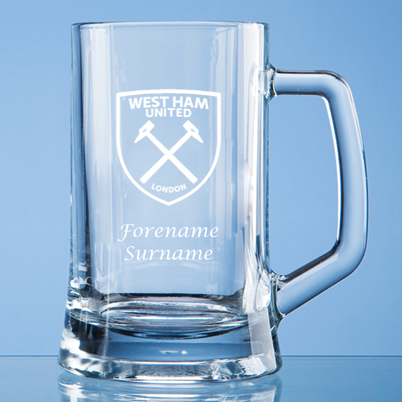 West Ham United FC Personalised Crest Small Plain Straight Sided Tankard