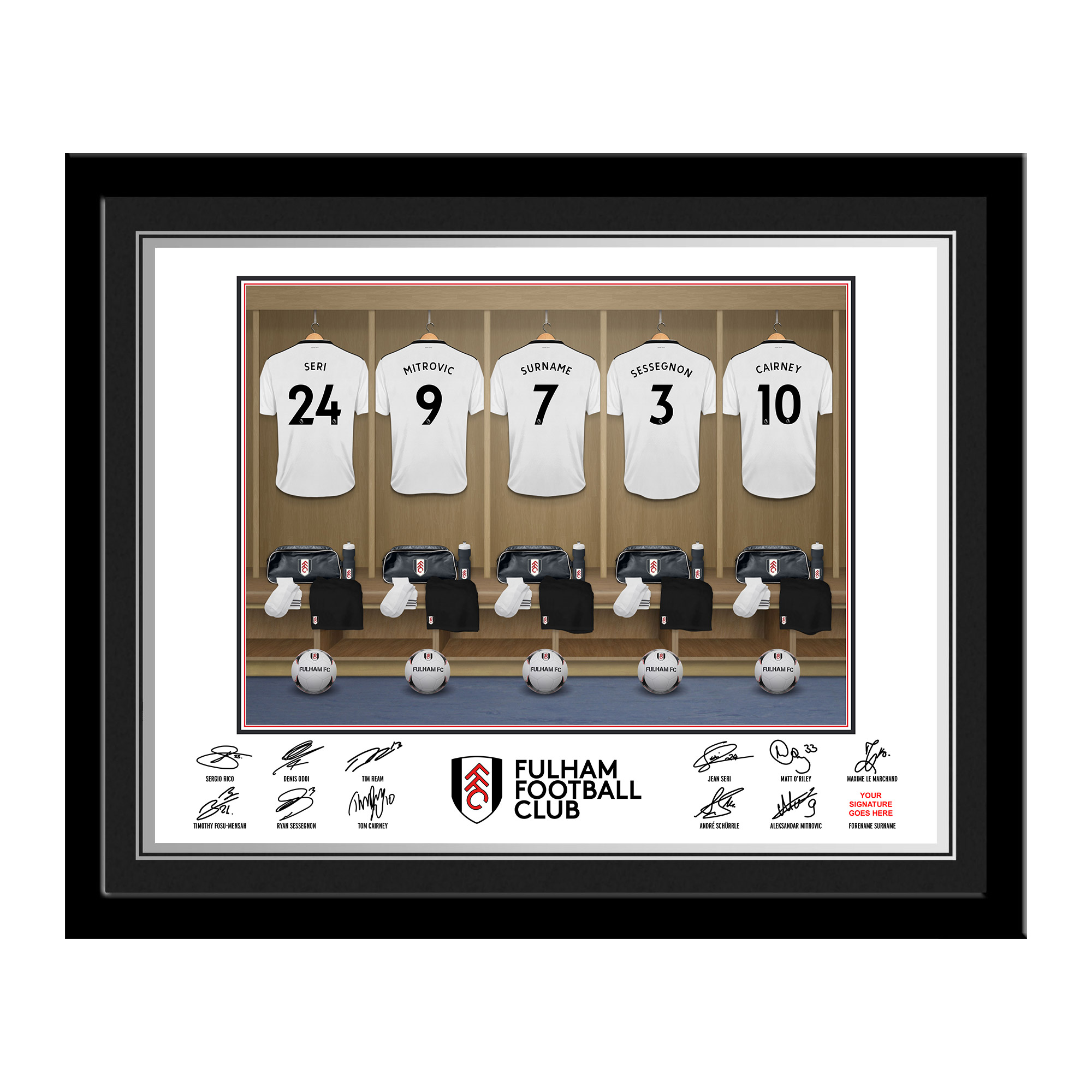 Fulham FC Dressing Room Photo Framed