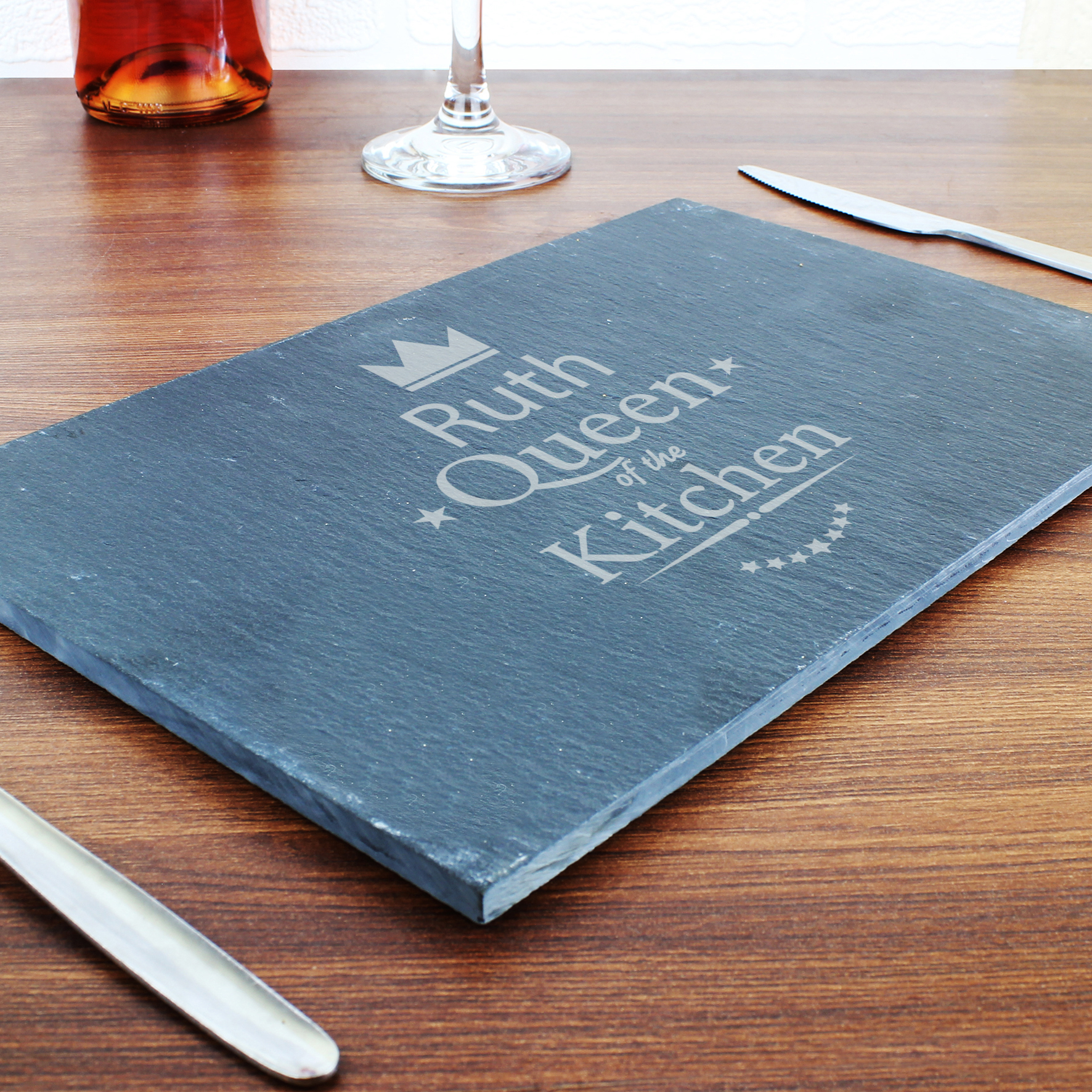 Engraved Queen of the Kitchen Slate Cheeseboard