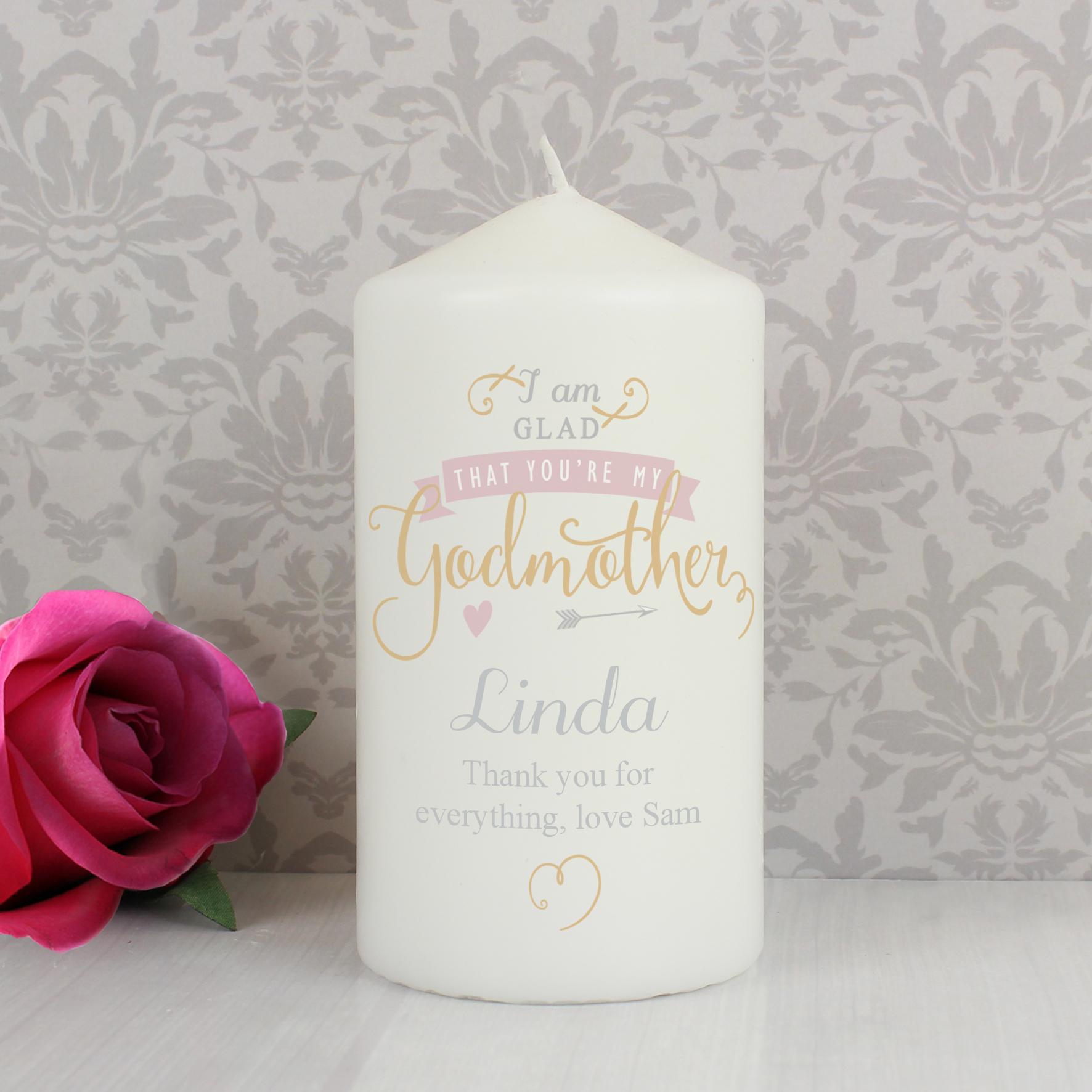 Personalised I Am Glad... Godmother Candle