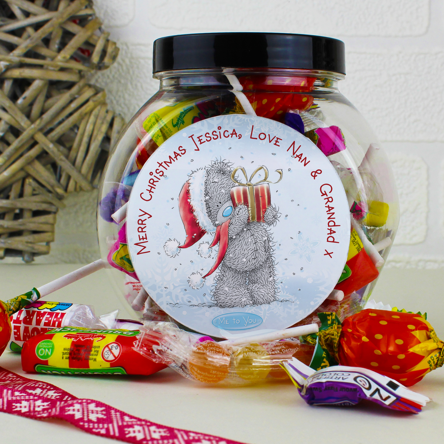 Personalised Me to You Christmas Bear Sweet Jar