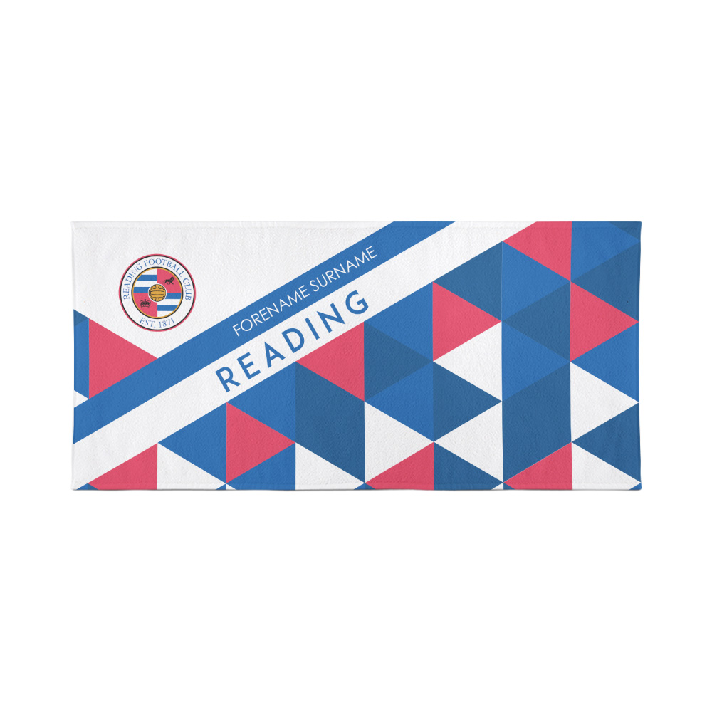 Reading Personalised Towel - Geometric Design - 70 x 140