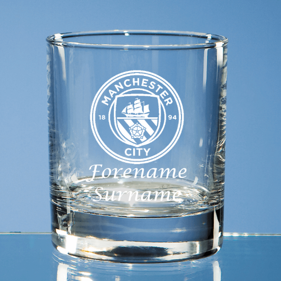 Manchester City FC Personalised Crest Bar Line Old Fashioned Whisky Tumbler