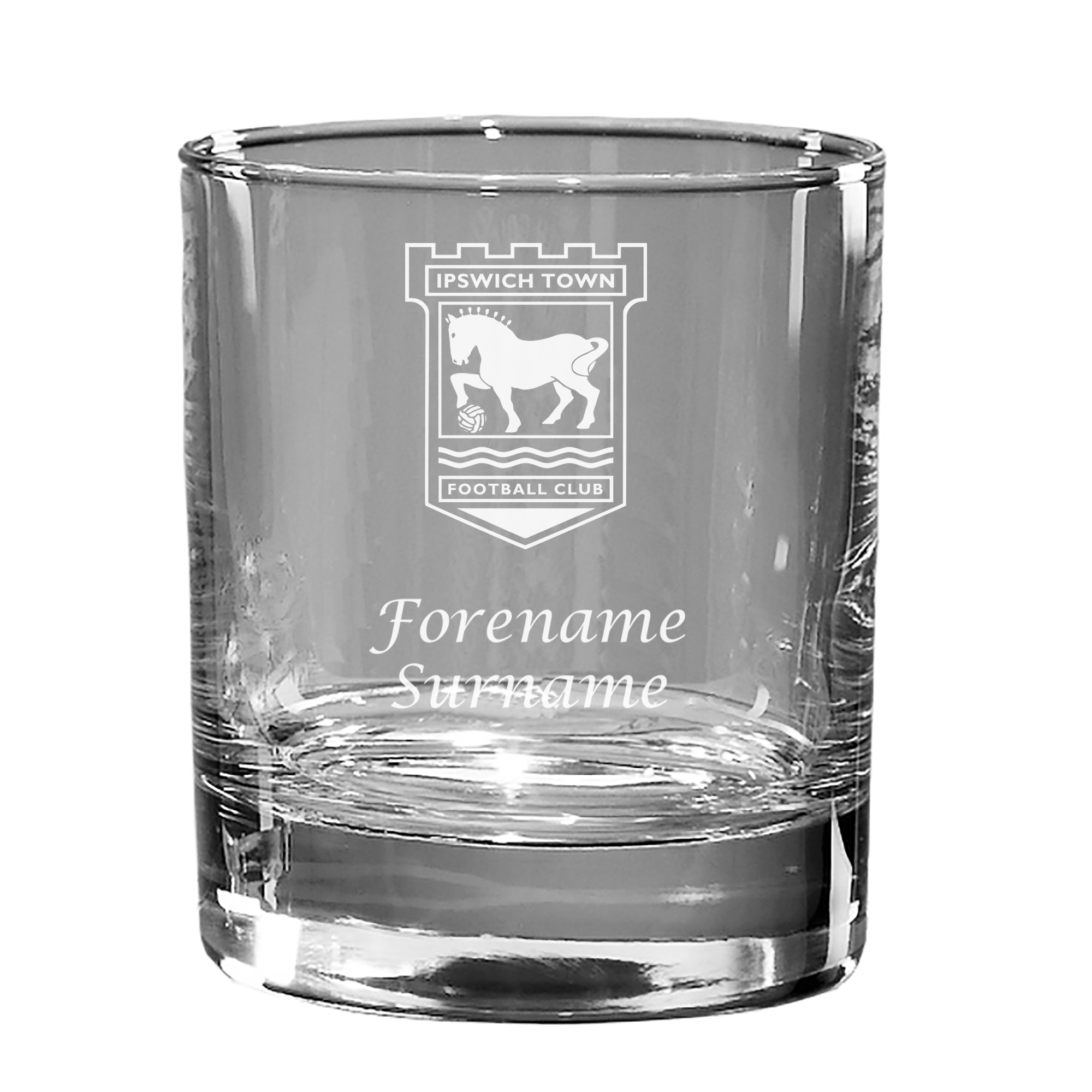 Ipswich Town FC Personalised Crest Old Fashioned Whisky Tumbler