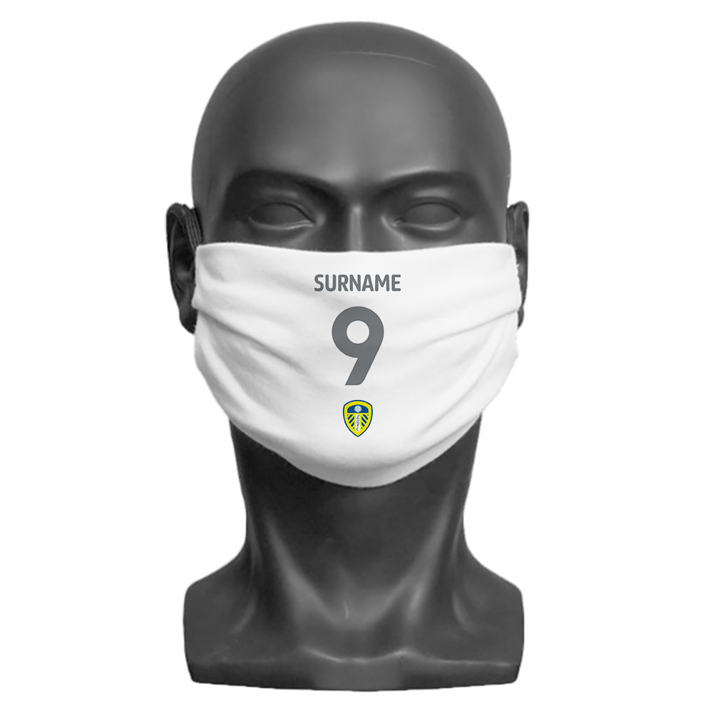 Leeds United FC Back of Shirt Adult Face Mask (Large)