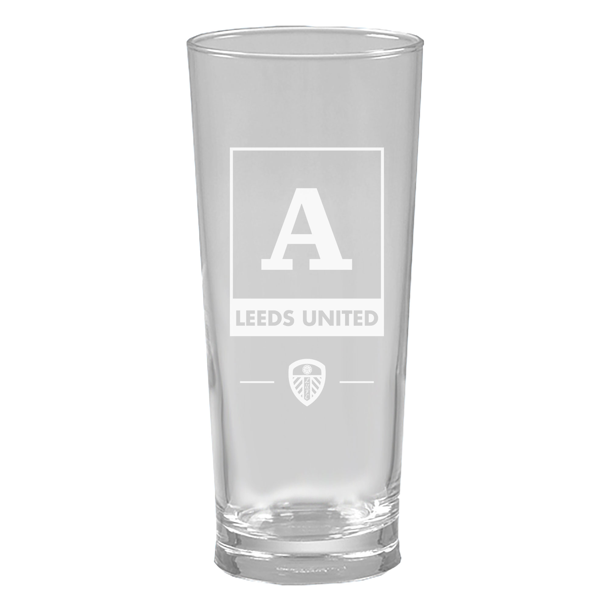 Leeds United FC Monogram Straight Sided Beer Glass