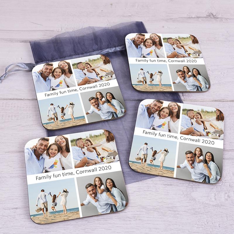 Personalised 4 Photo Upload Coaster Set