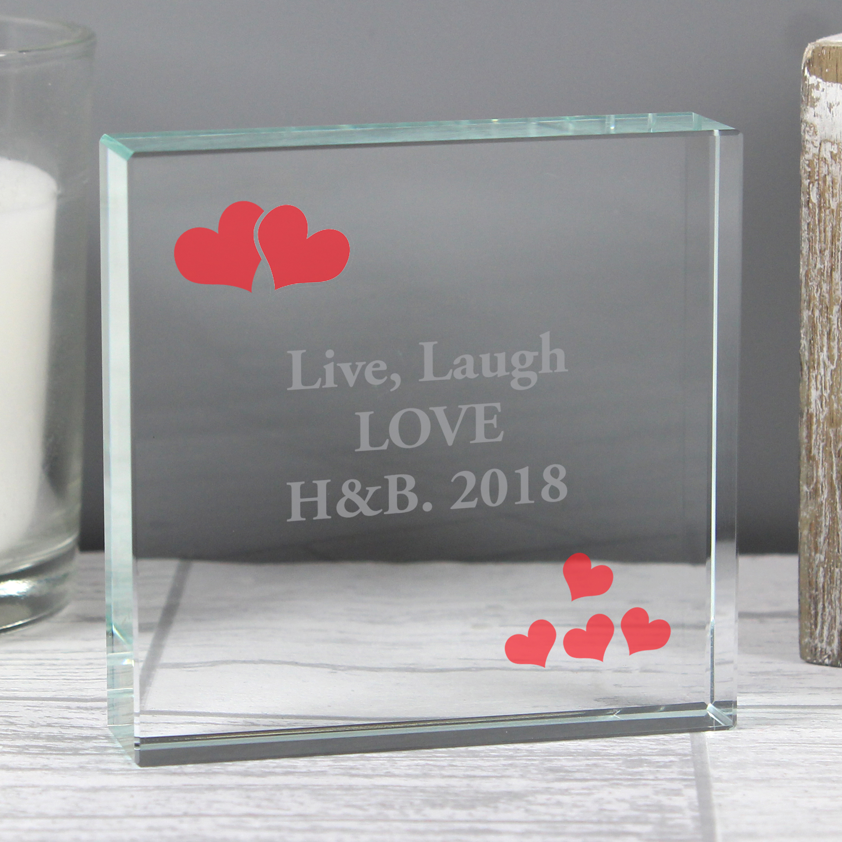 Personalised Large Crystal Token - Red Hearts